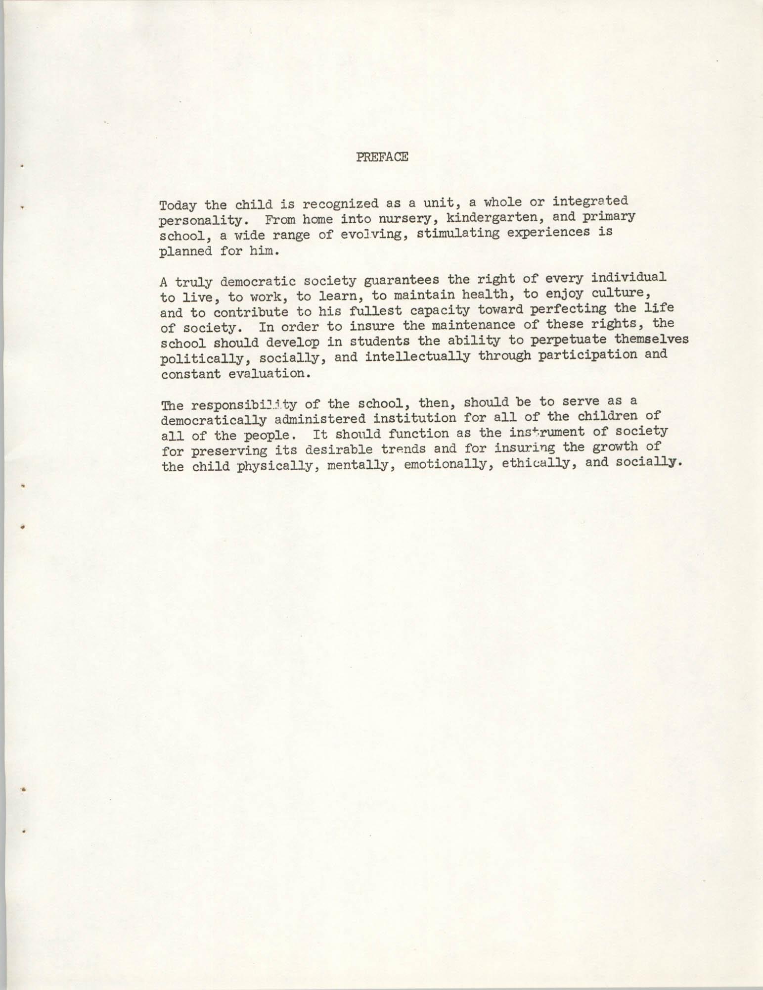 Child Care Ministry, Dorchester County, S.C., Preface