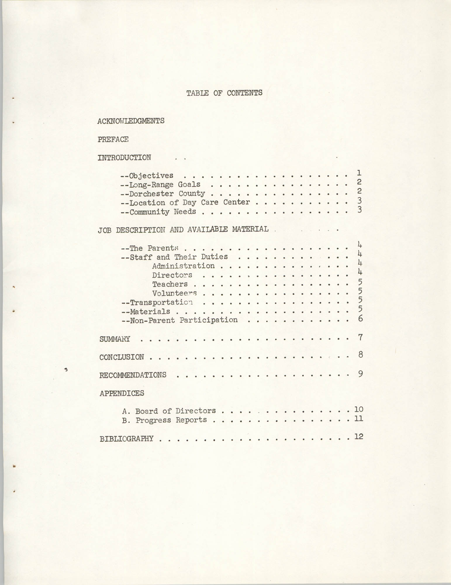 Child Care Ministry, Dorchester County, S.C., Table of Contents