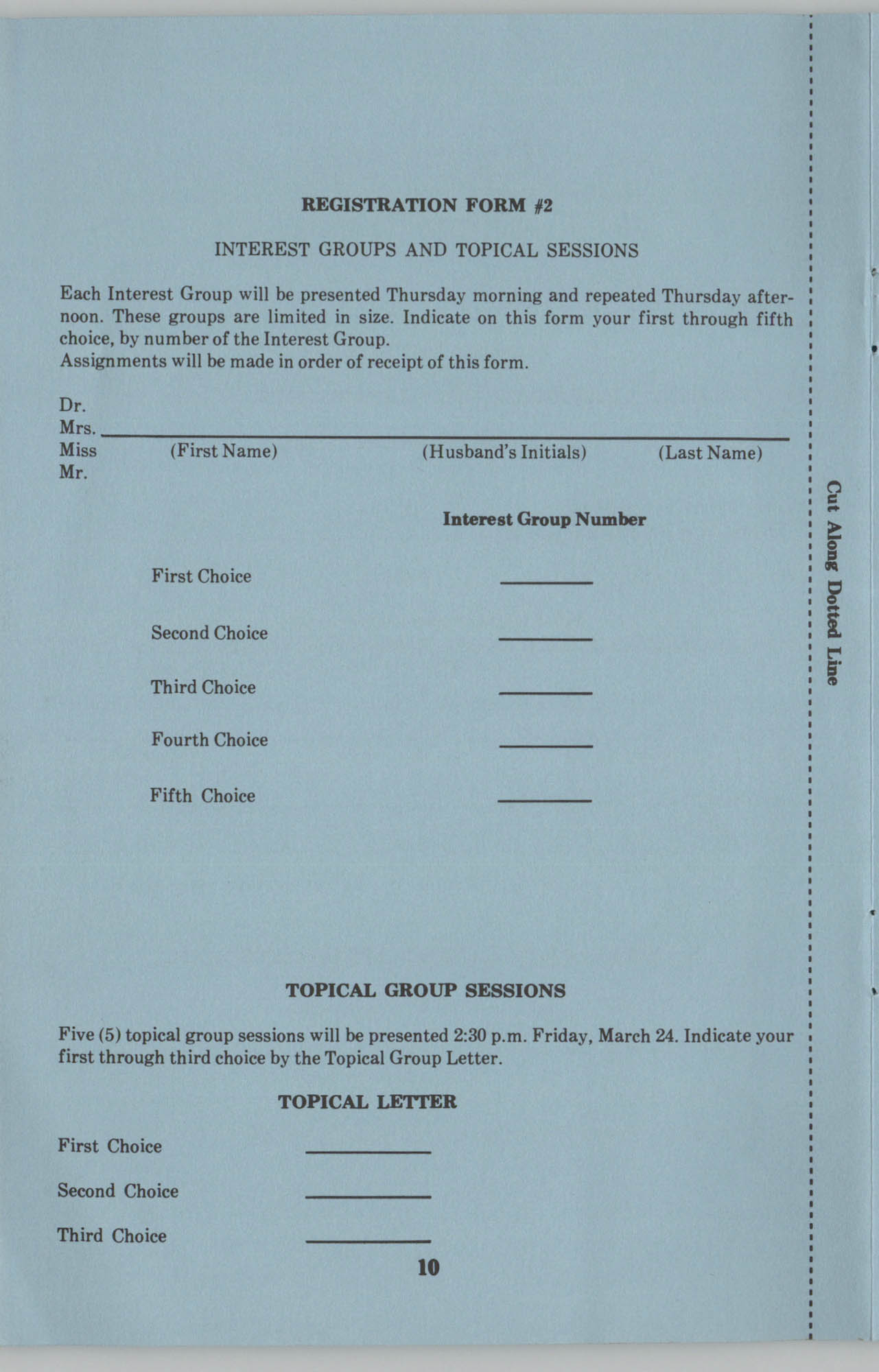 SACUS,  23rd Annual Conference Registration Form, Page 10
