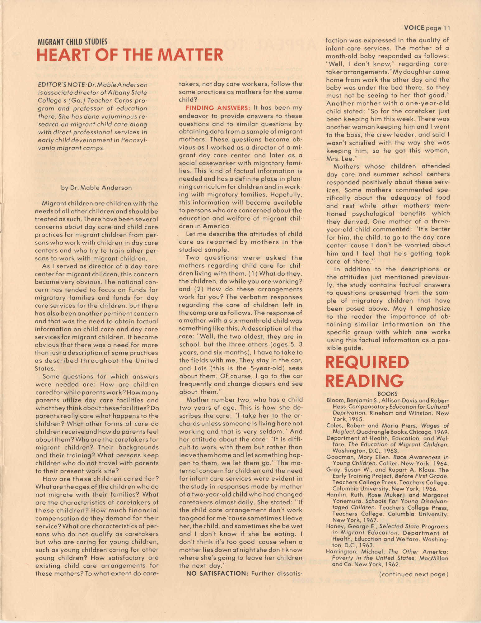 Voice For Children, Volume 4, Number 8, Cover, Page 11