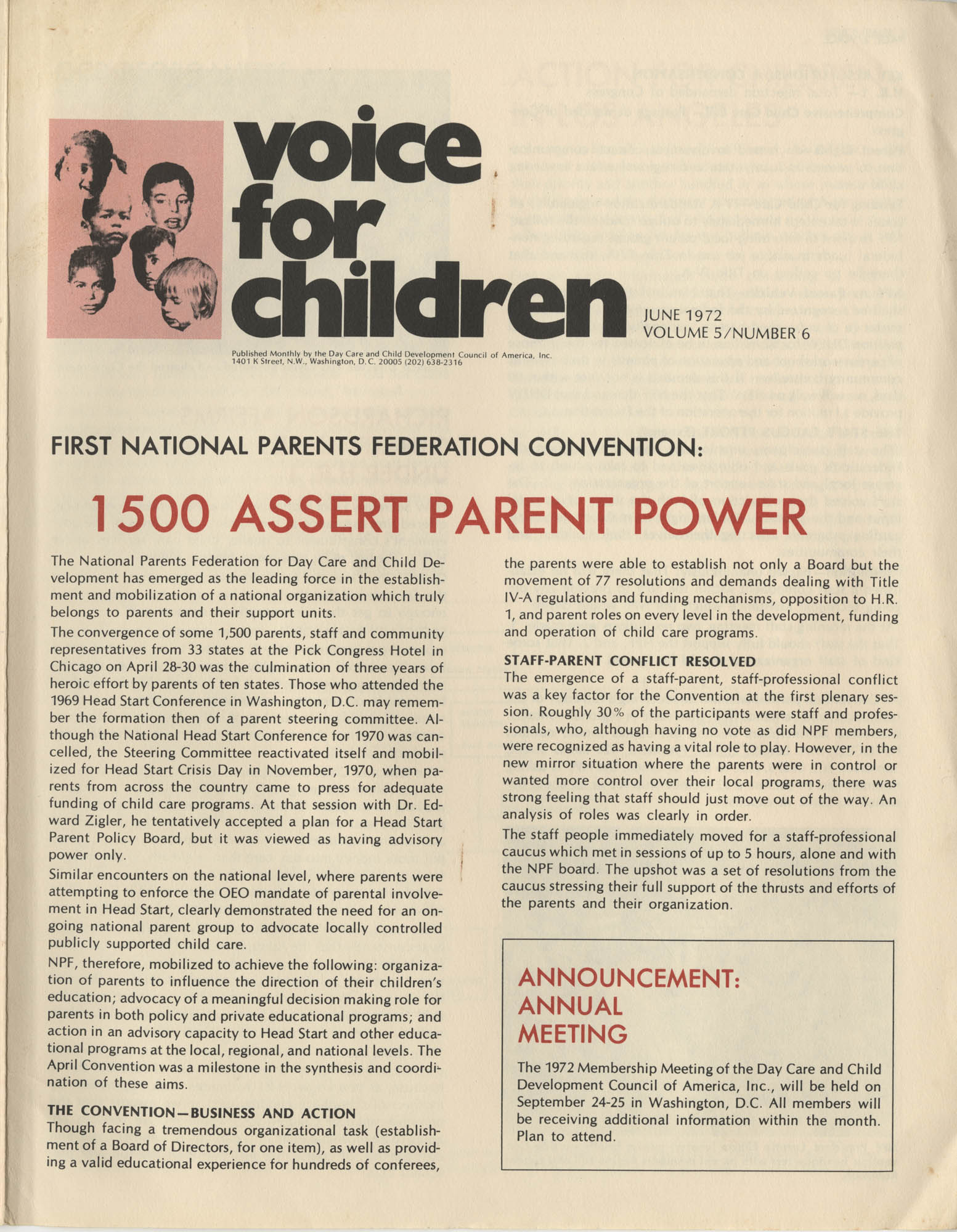 Voice For Children, Volume 5, Number 6, Cover