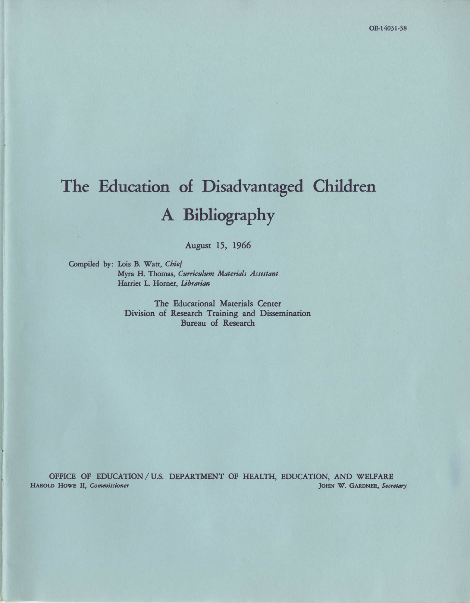 The Education of Disadvantaged Children, A Bibliography, Title Page
