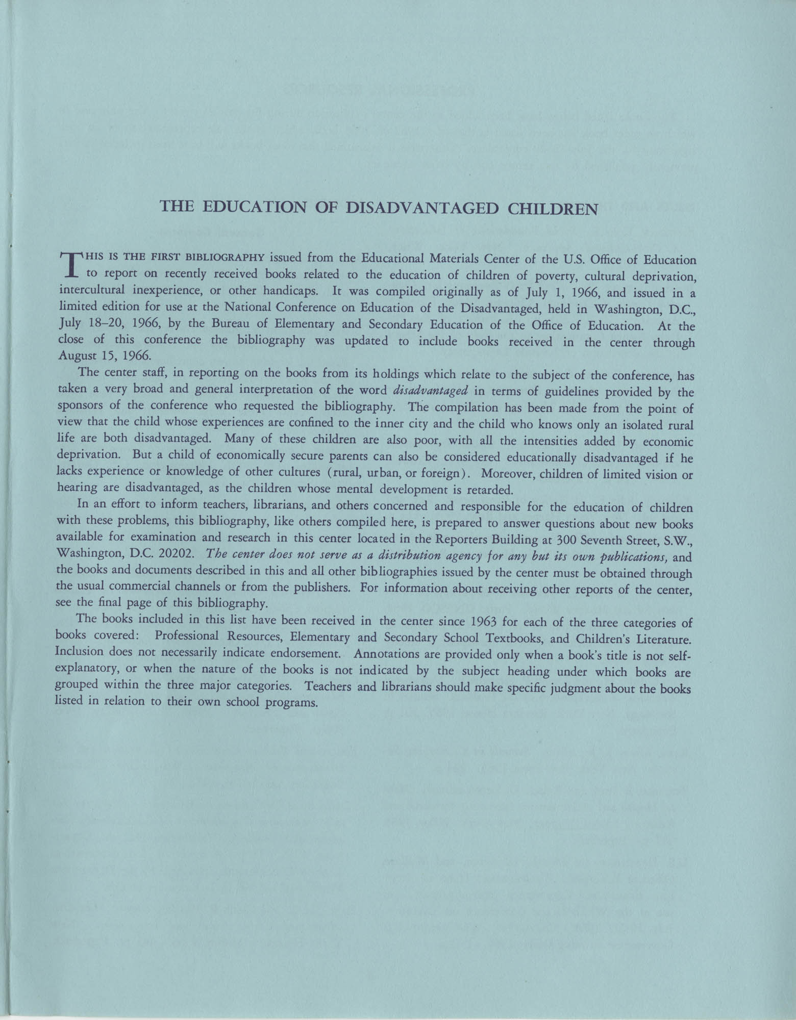The Education of Disadvantaged Children, A Bibliography, Page 1
