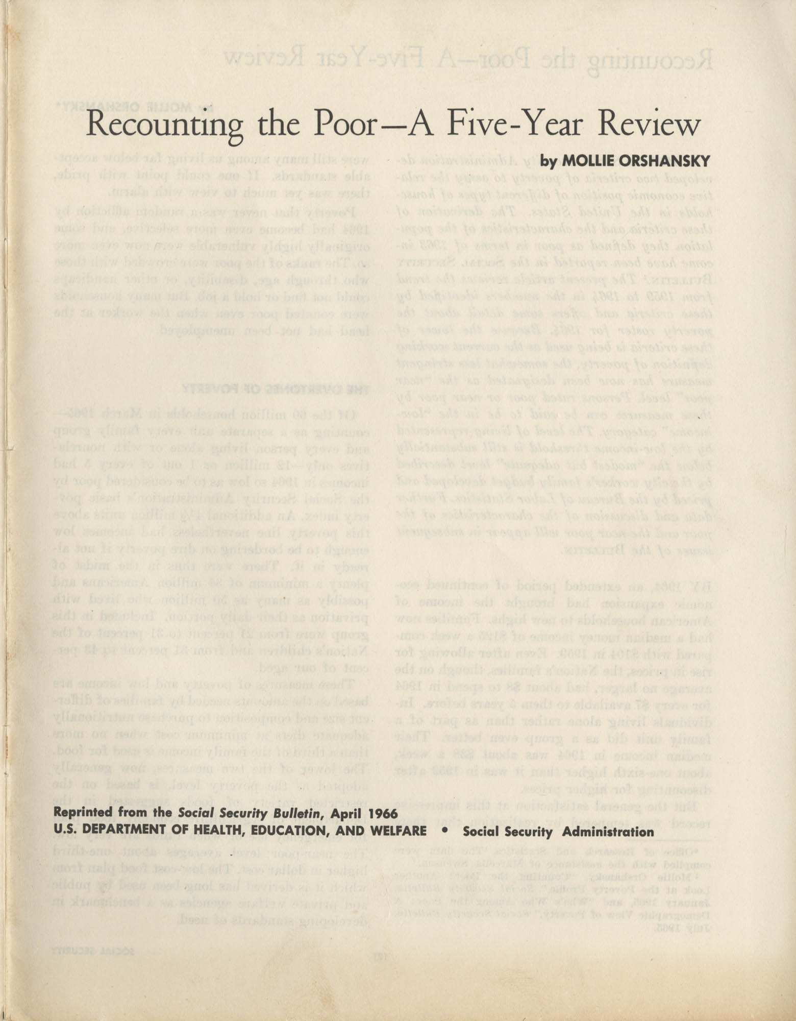 Recounting the Poor–A Five-Year Review, Cover