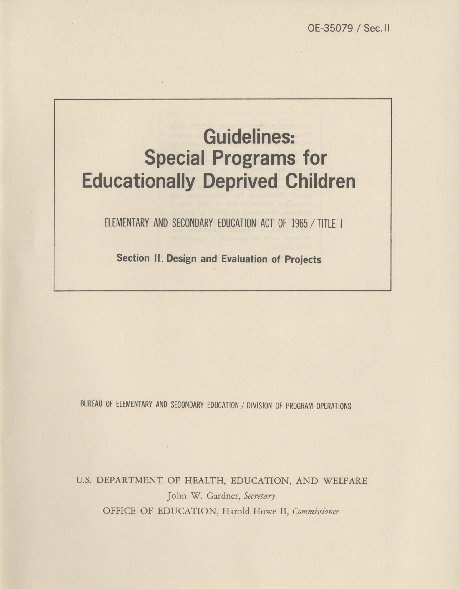 Guidelines: Special Programs for Educationally Deprived Children, Section II, Title Page