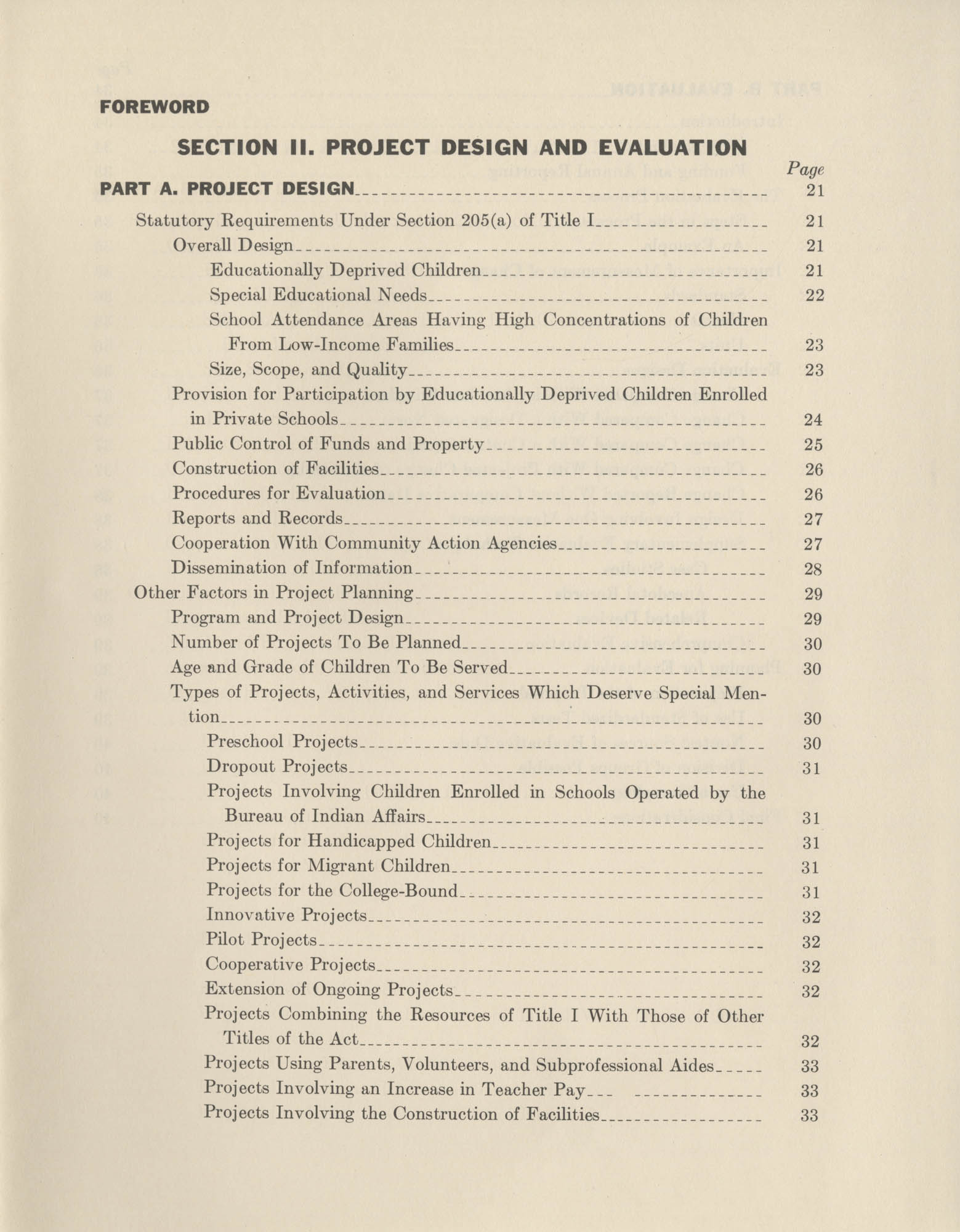 Guidelines: Special Programs for Educationally Deprived Children, Section II, Contents Page 1