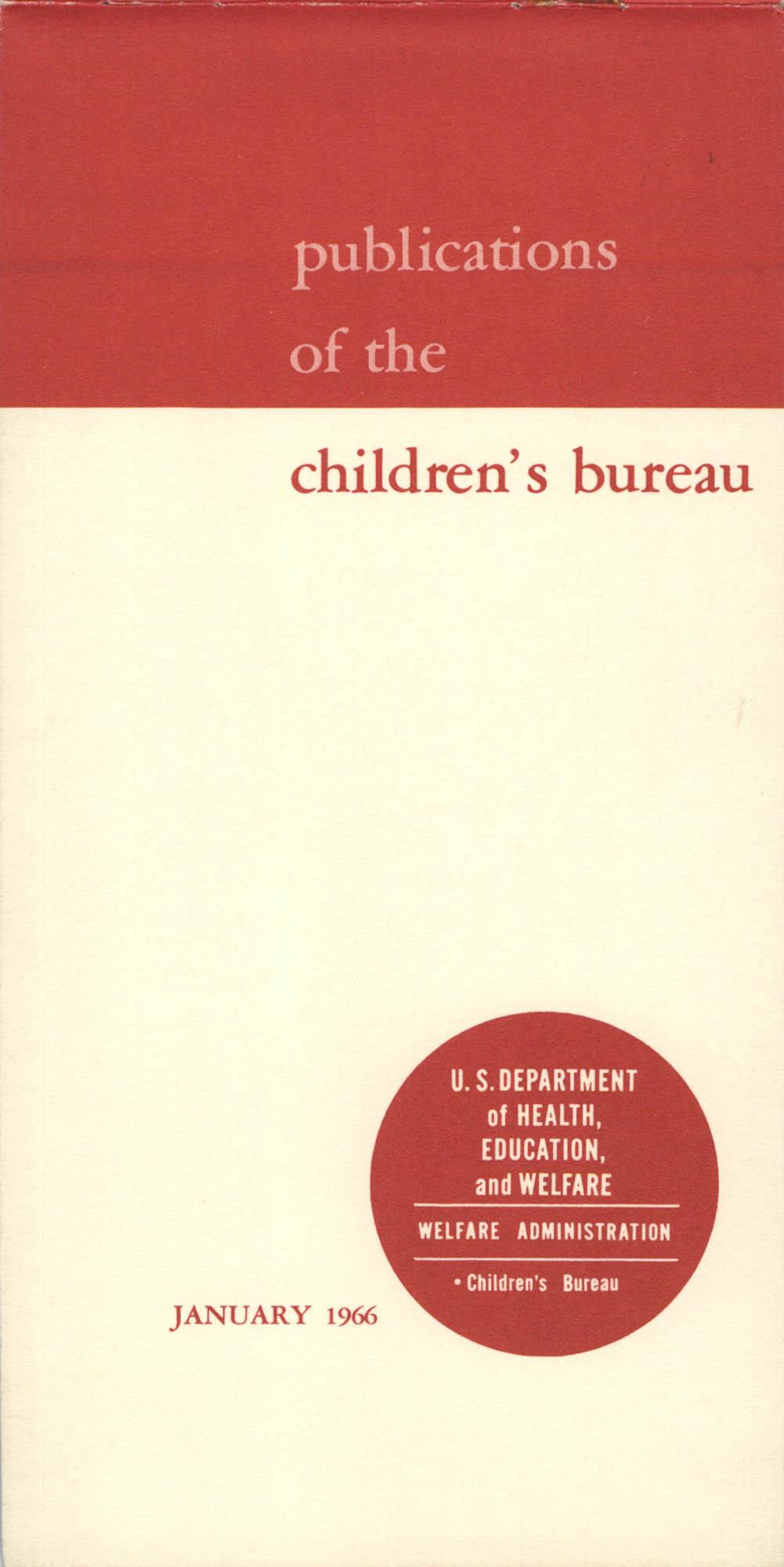 Publications of the Children's Bureau, Cover