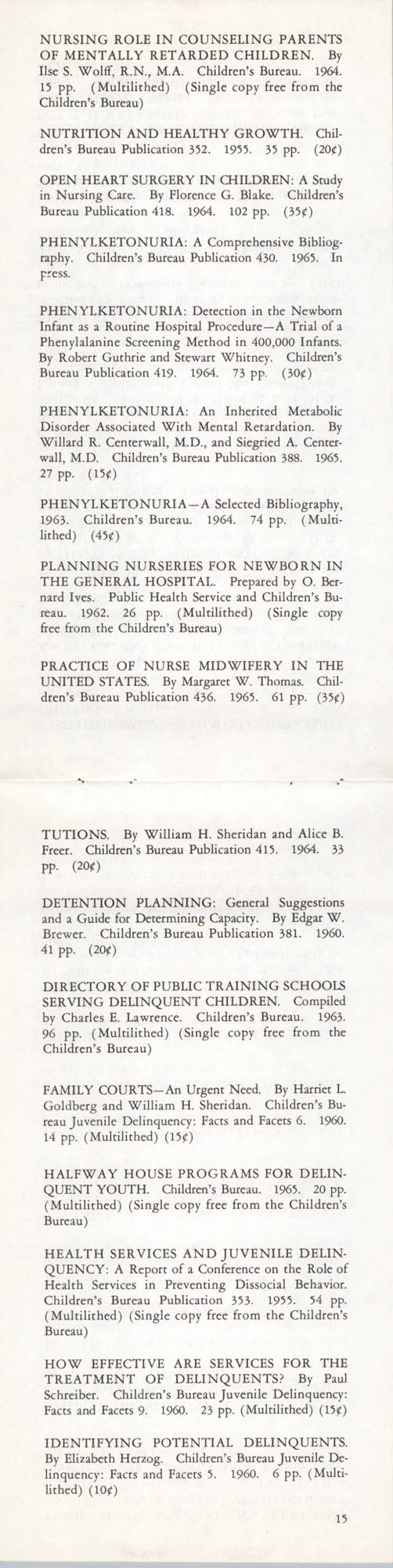 Publications of the Children's Bureau, Page 15