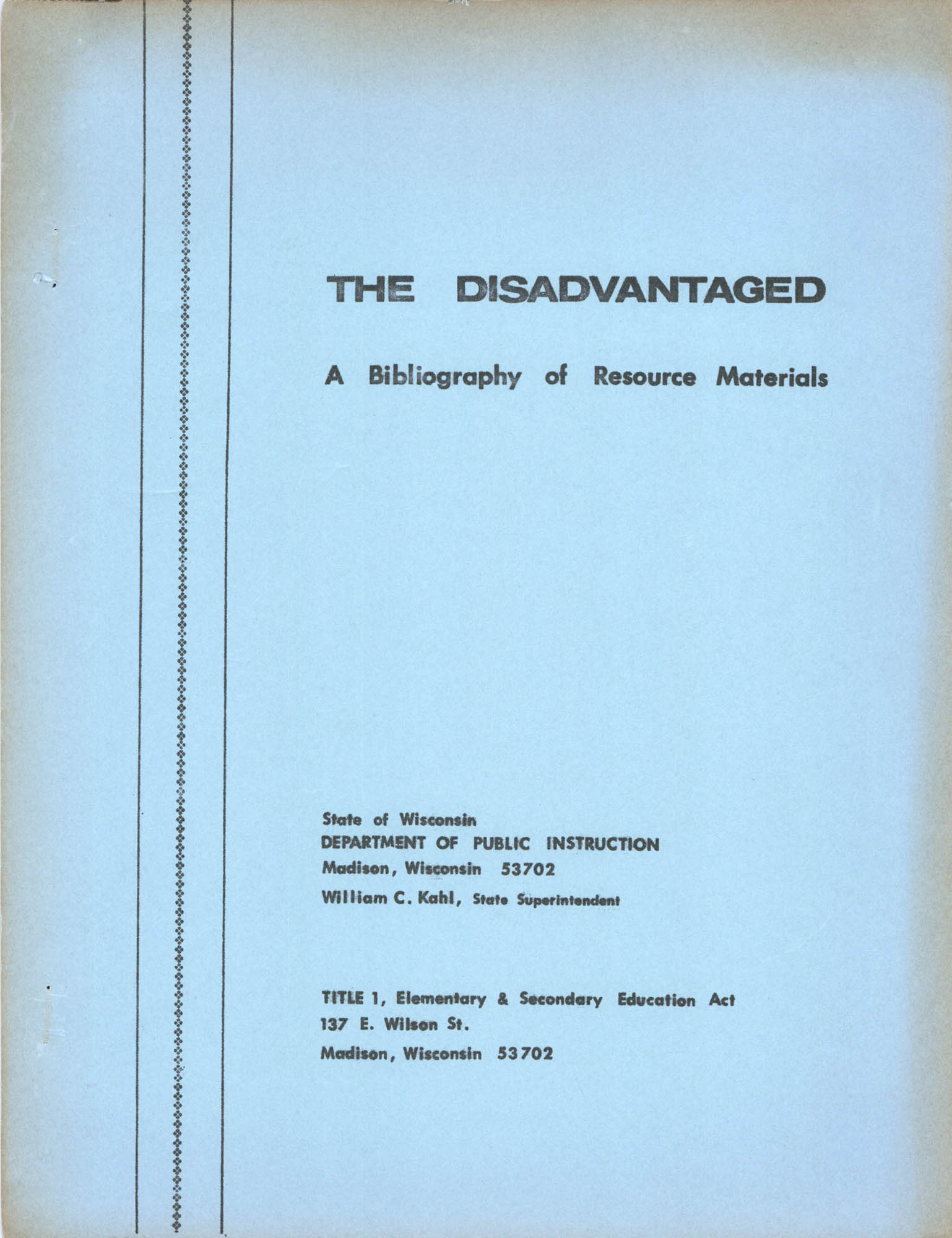 The Disadvantaged, A Bibliography of Resource Materials, Cover