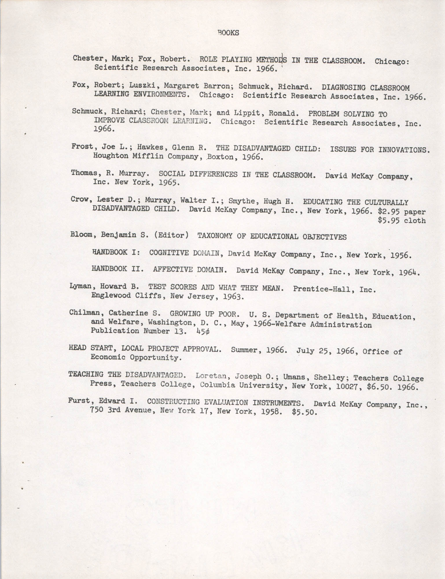 The Disadvantaged, A Bibliography of Resource Materials, Page 2