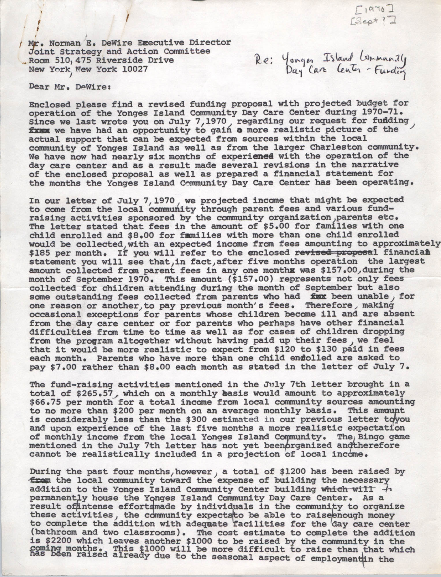Letter from Bernice V. Robinson to Norman E. DeWire, September 1970, Page 1