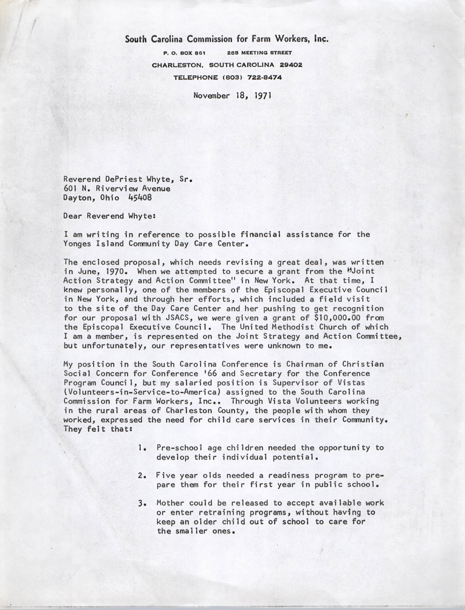 Letter from Bernice Robinson to DePriest Whyte, Sr., November 18, 1971, Page 1