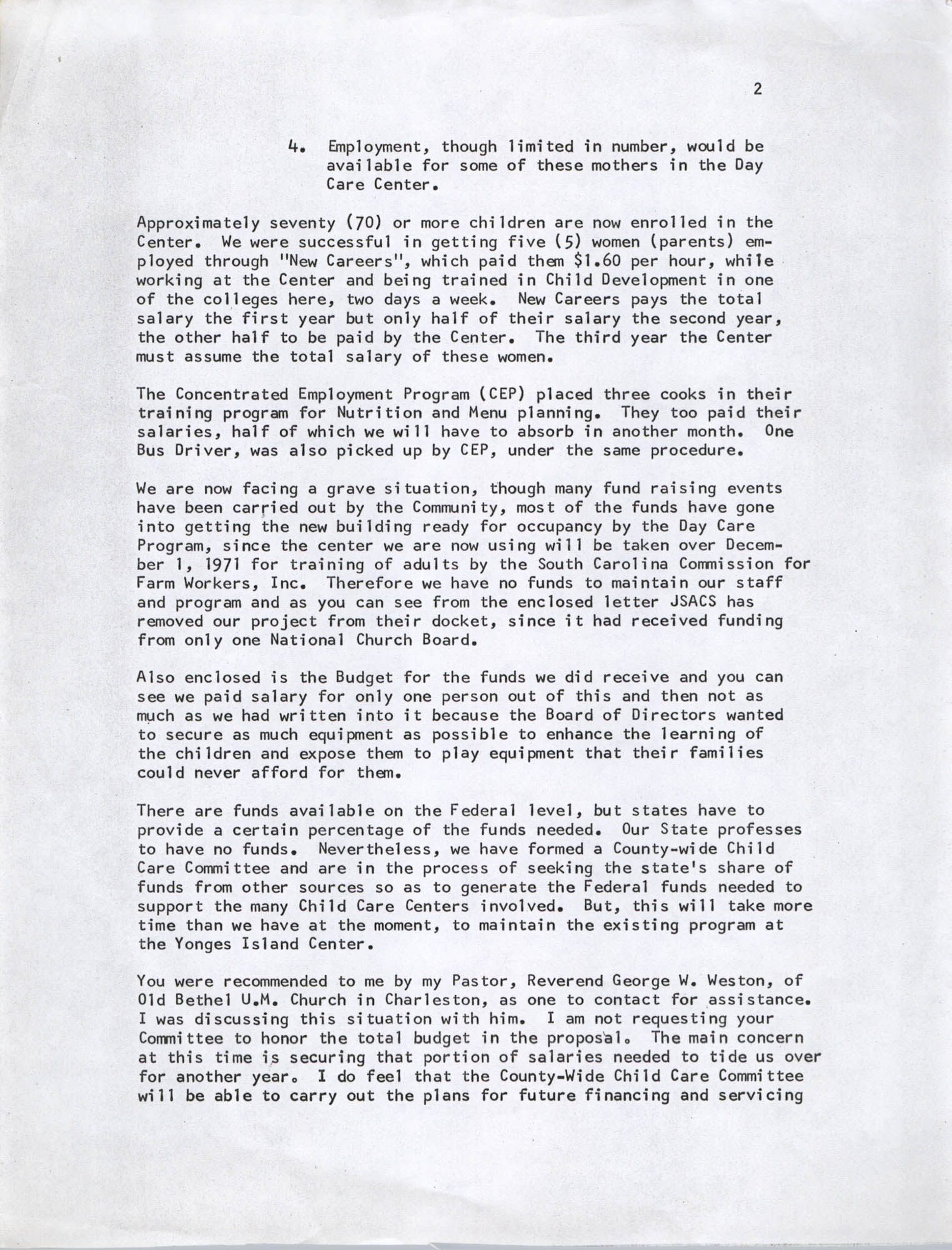 Letter from Bernice Robinson to DePriest Whyte, Sr., November 18, 1971, Page 2