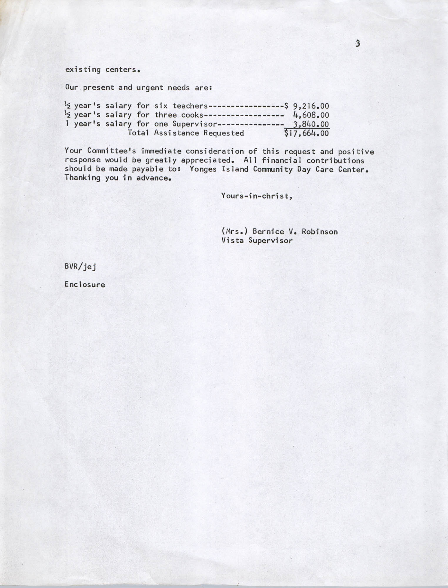 Letter from Bernice Robinson to DePriest Whyte, Sr., November 18, 1971, Page 3