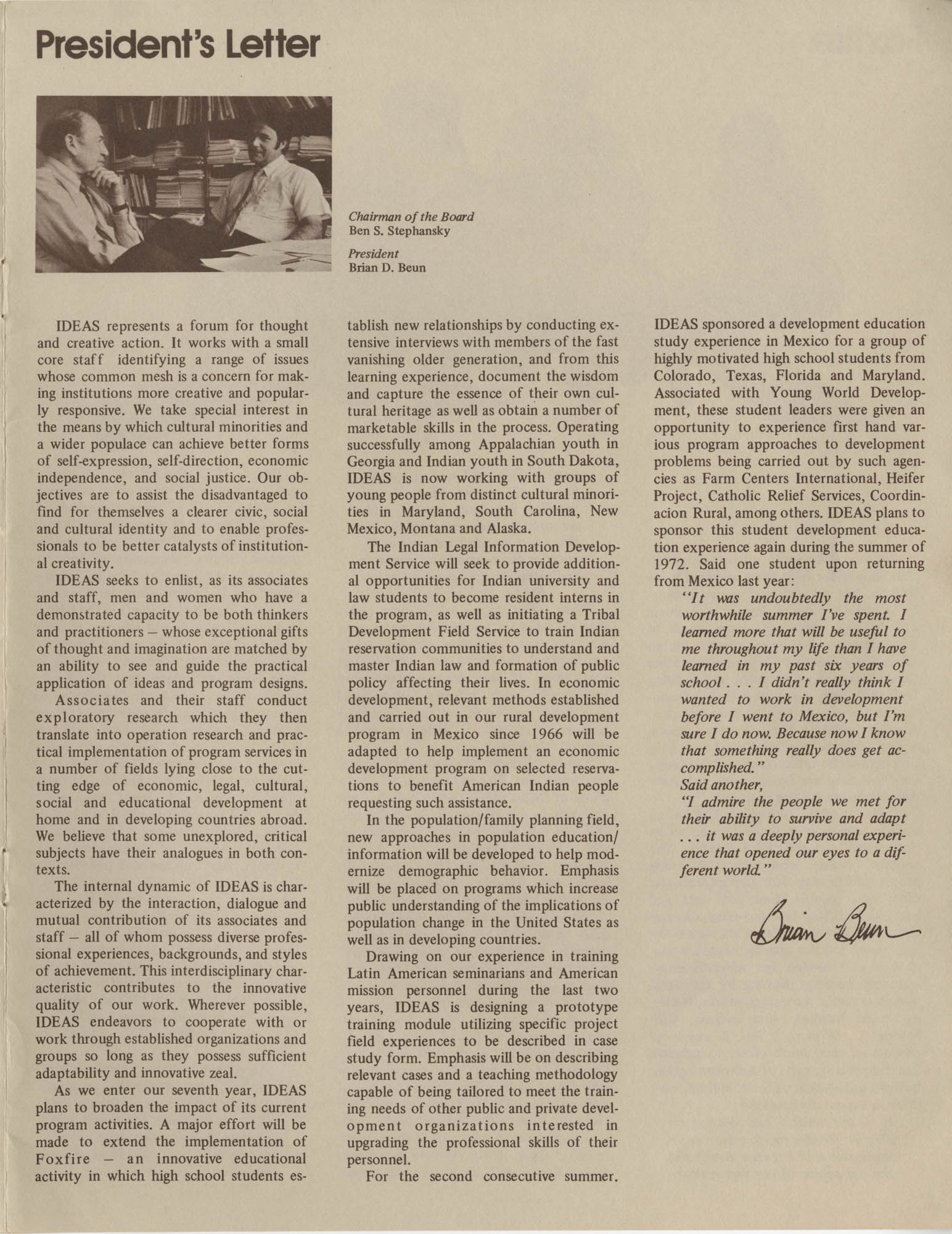 IDEAS, Spring Report 1972, Page 1