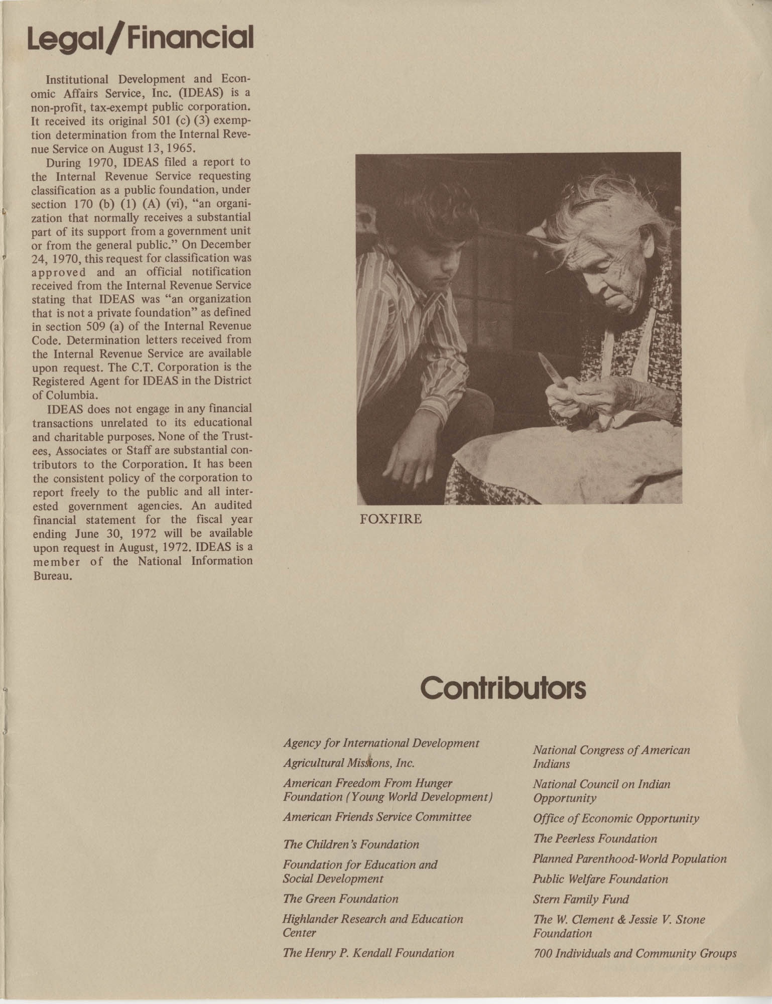 IDEAS, Spring Report 1972, Back Cover Interior