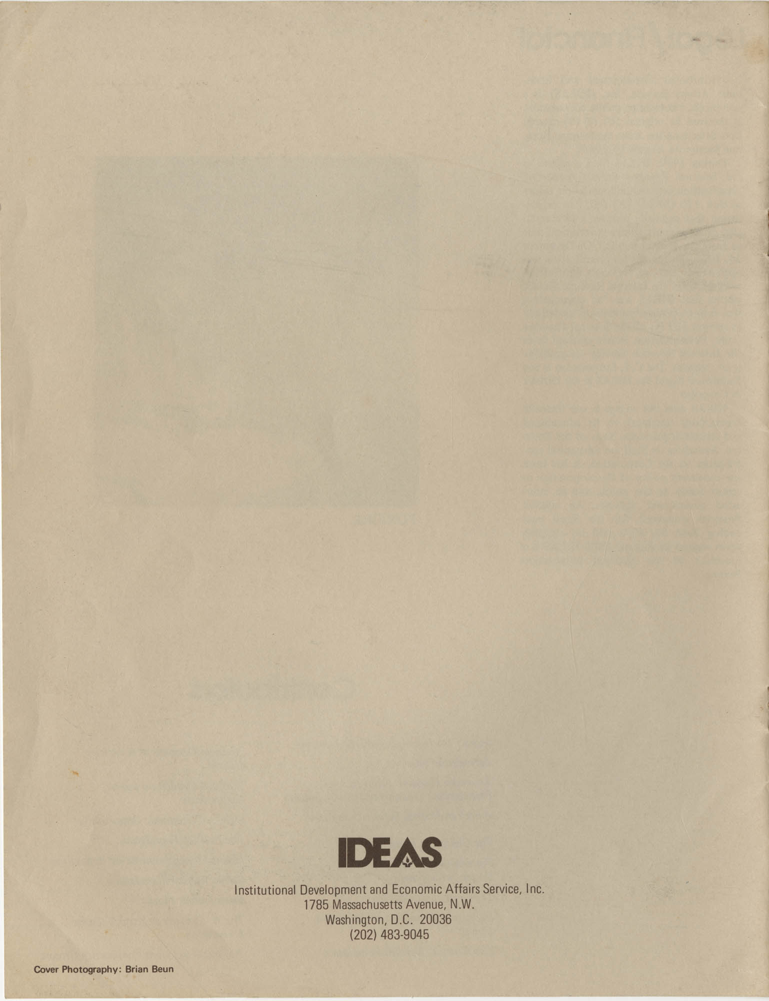 IDEAS, Spring Report 1972, Back Cover Exterior