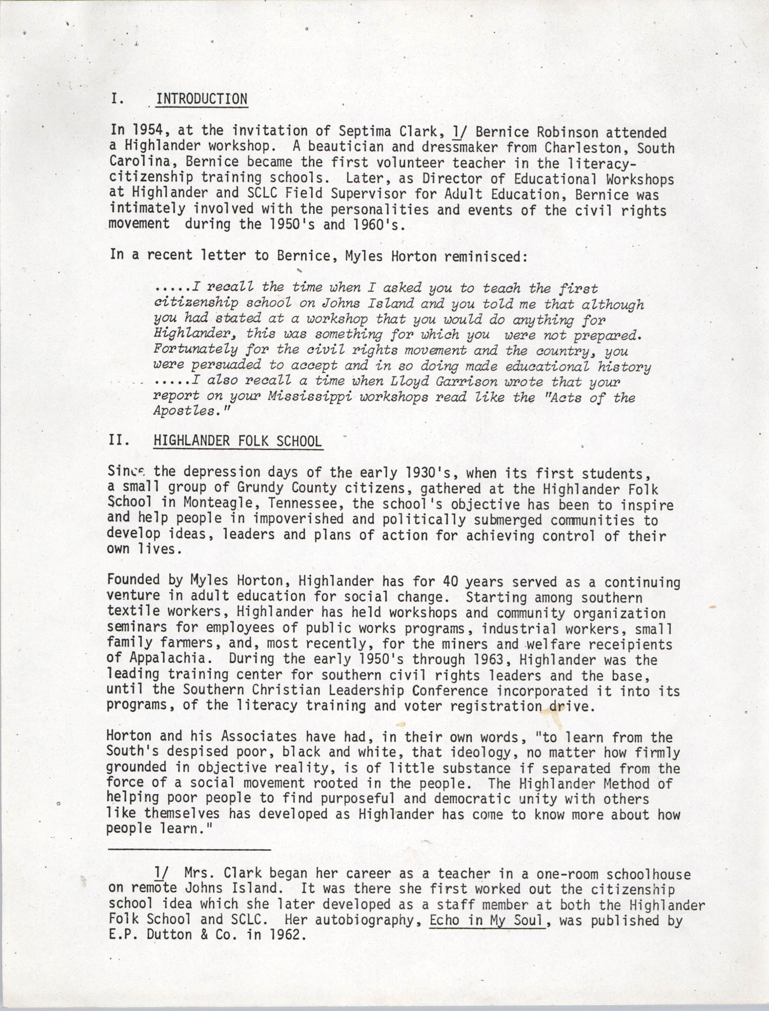 Civil Rights Oral History Project, Page 1