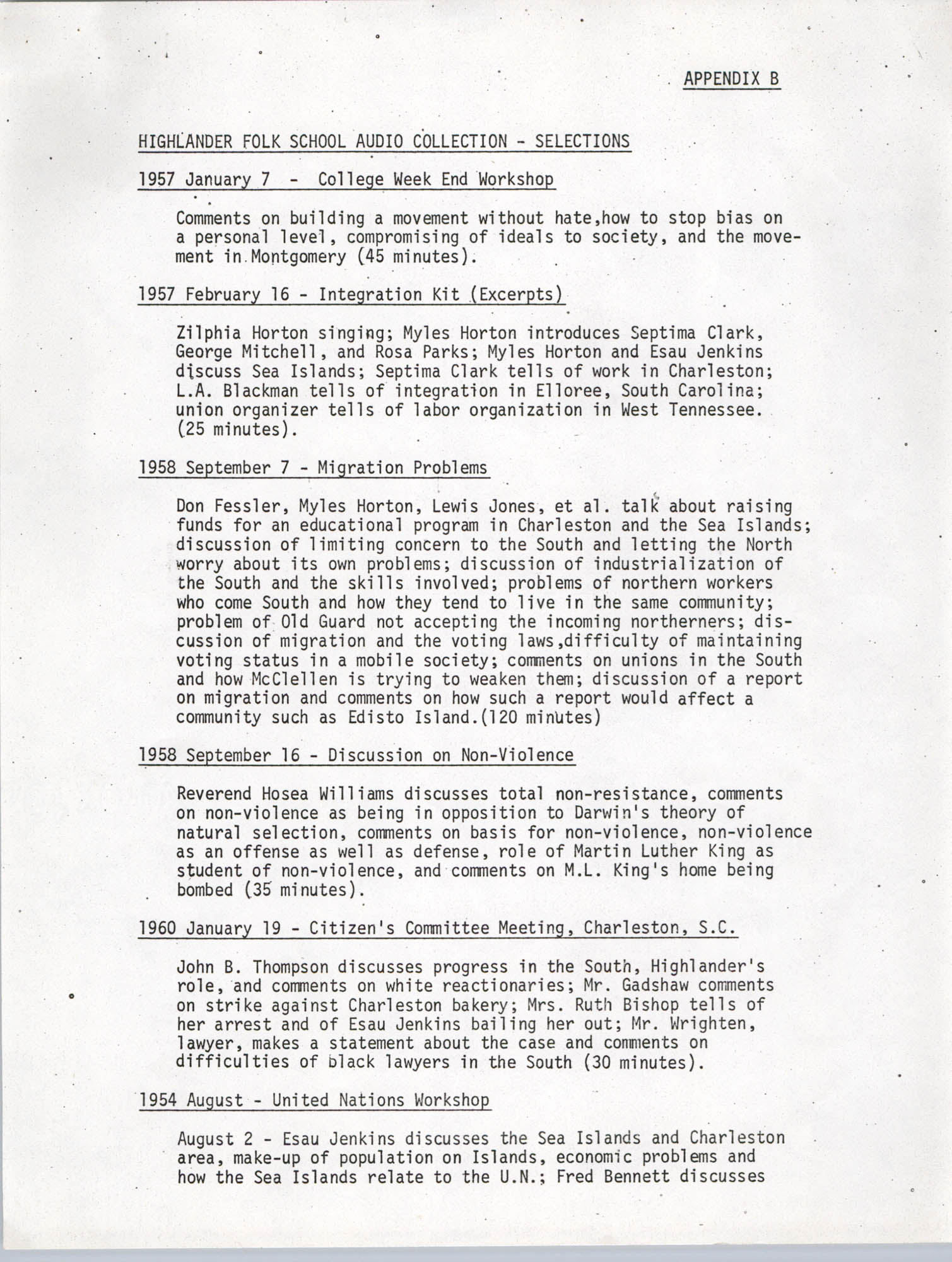Civil Rights Oral History Project, Appendix B, Page 1
