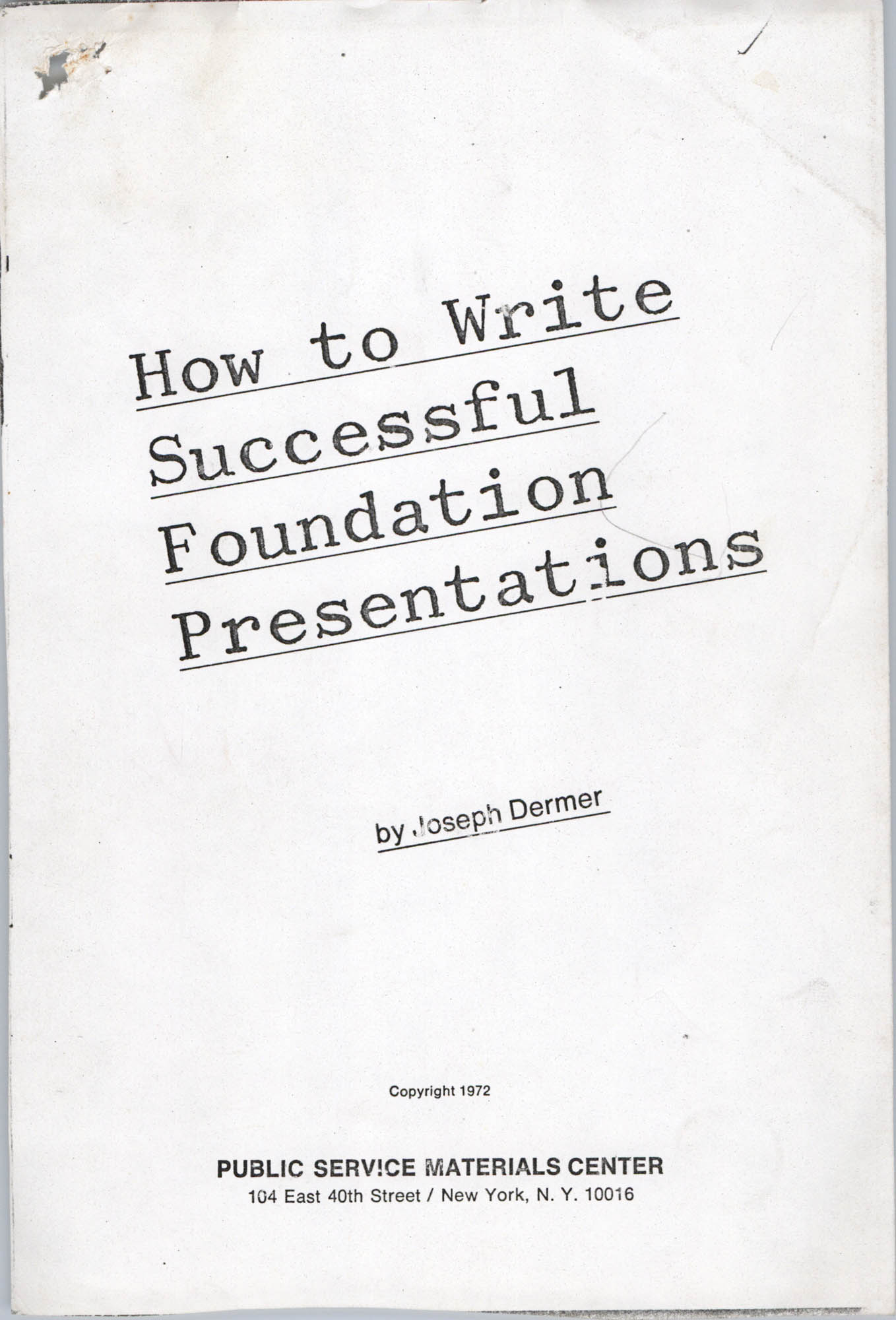 How To Write Successful Foundation Presentations, Cover