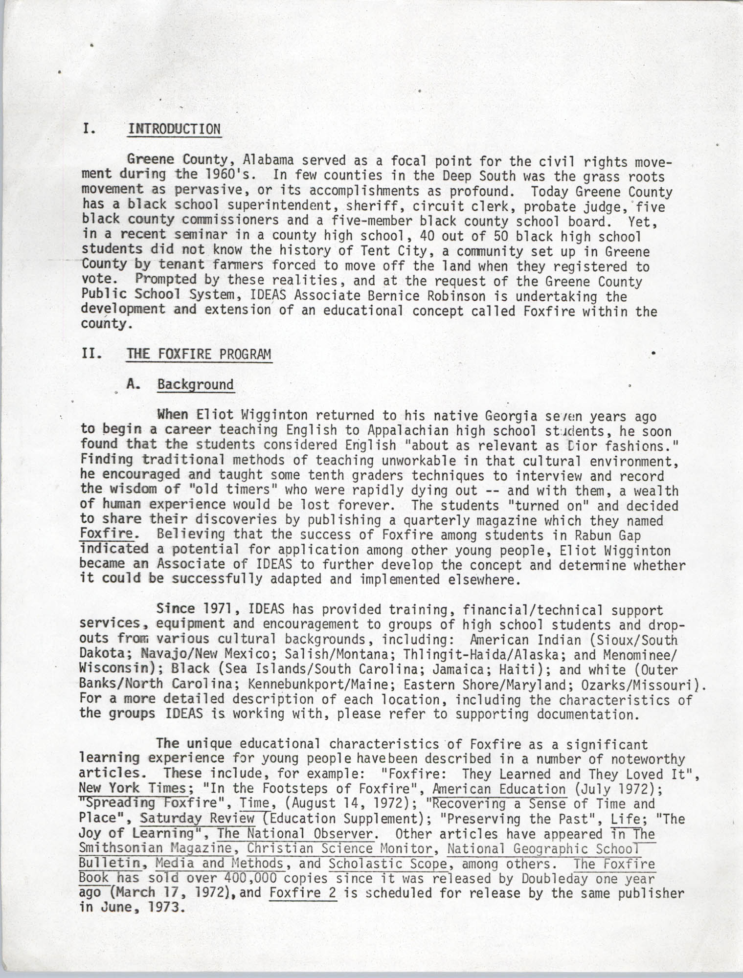 Civil Rights Movement Oral History Project, Foxfire Learning Concept, Page 1