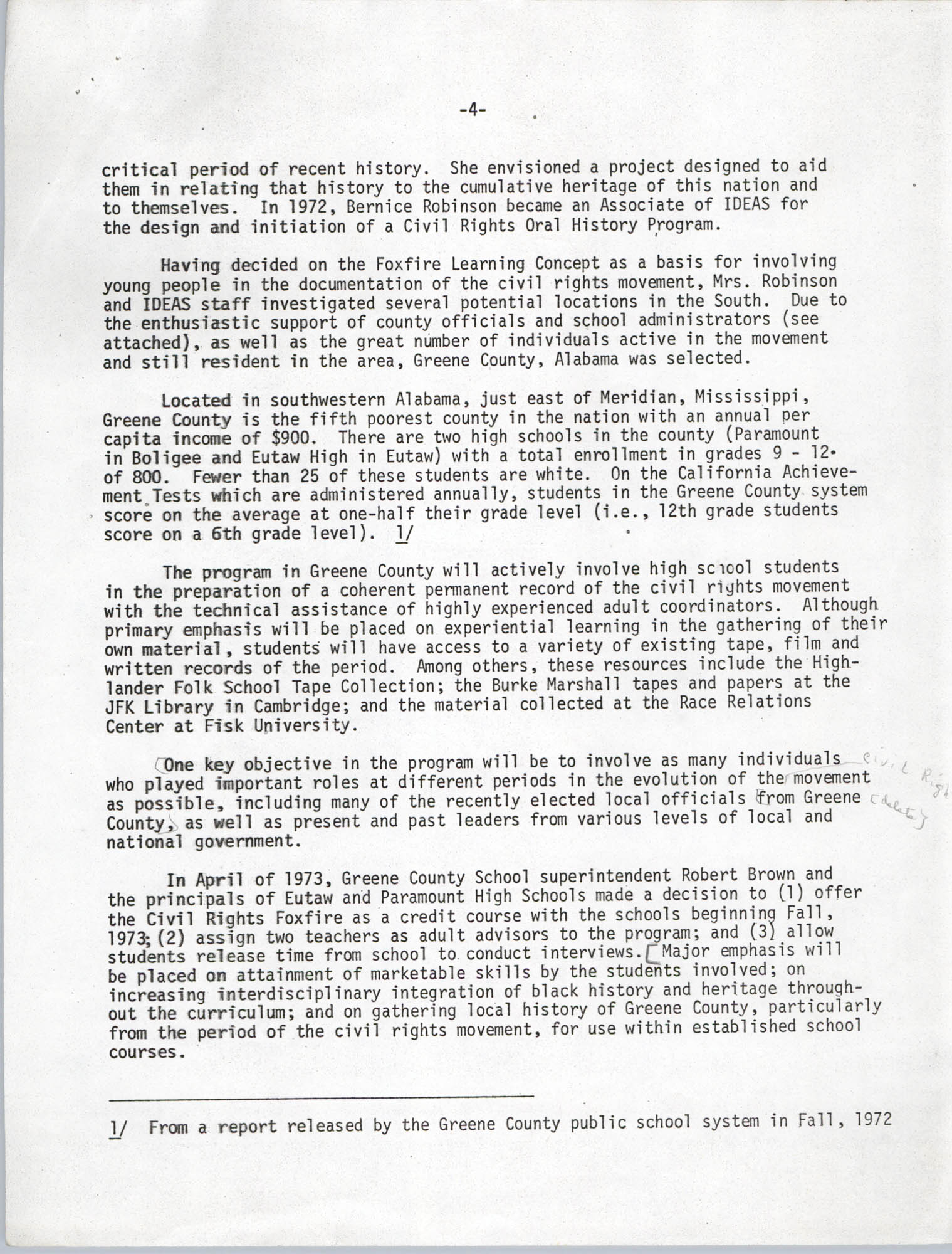 Civil Rights Movement Oral History Project, Foxfire Learning Concept, Page 4