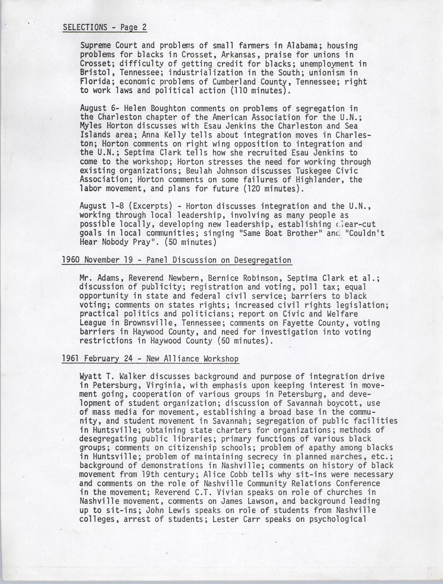 Civil Rights Movement Oral History Project, Foxfire Learning Concept, Appendix B, Page 2