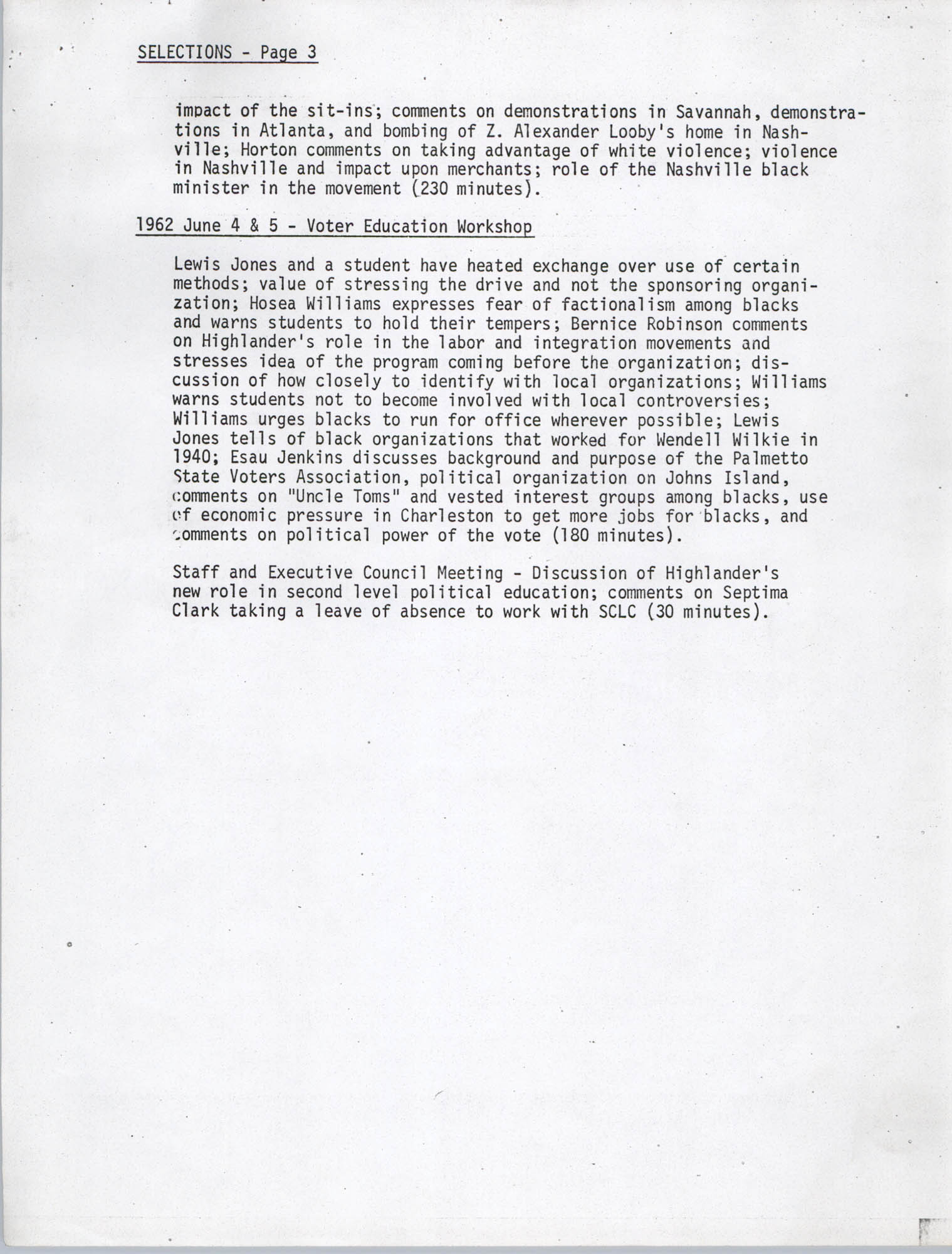 Civil Rights Movement Oral History Project, Foxfire Learning Concept, Appendix B, Page 3