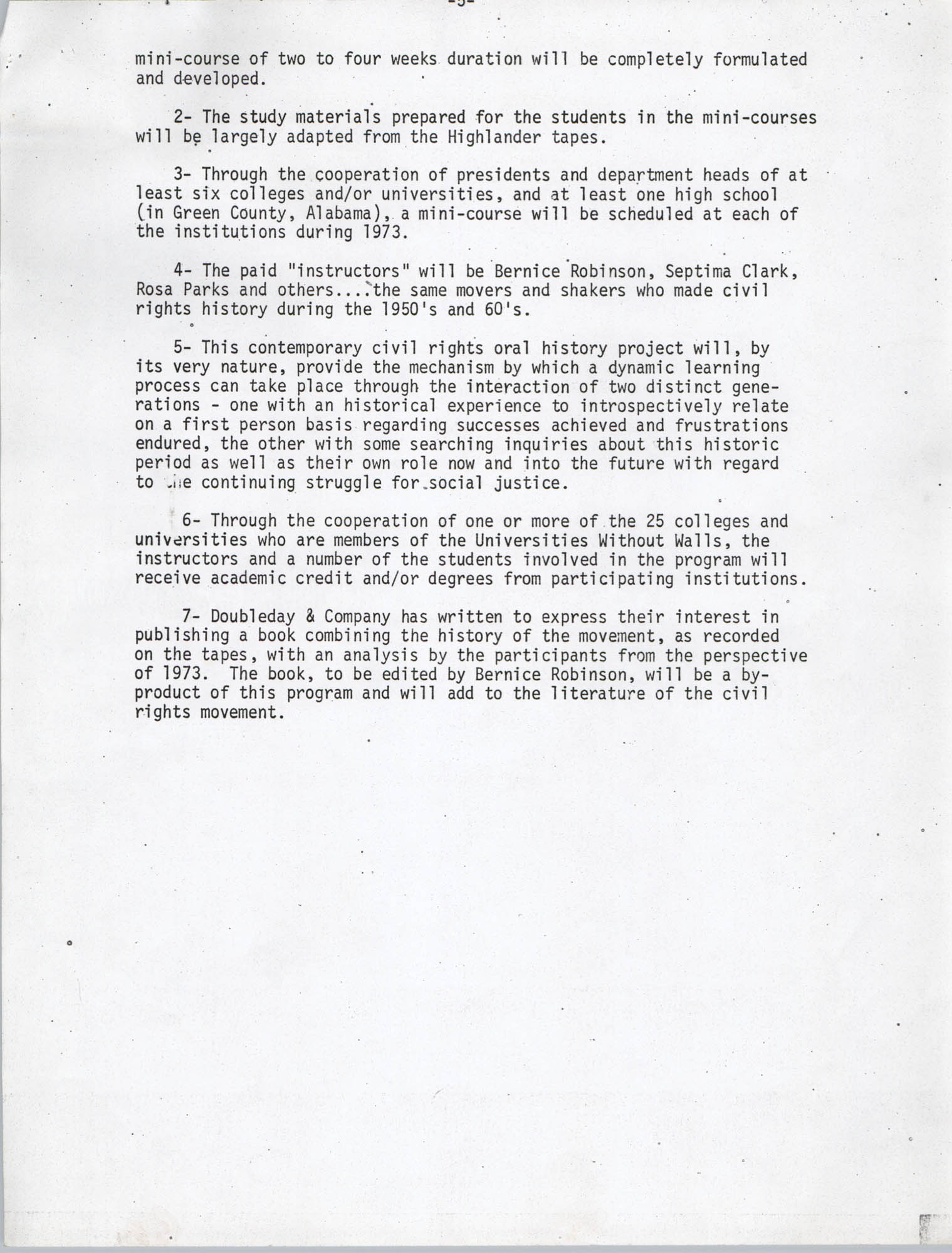 Civil Rights Movement Oral History Project, Foxfire Learning Concept, Appendix C, Page 5