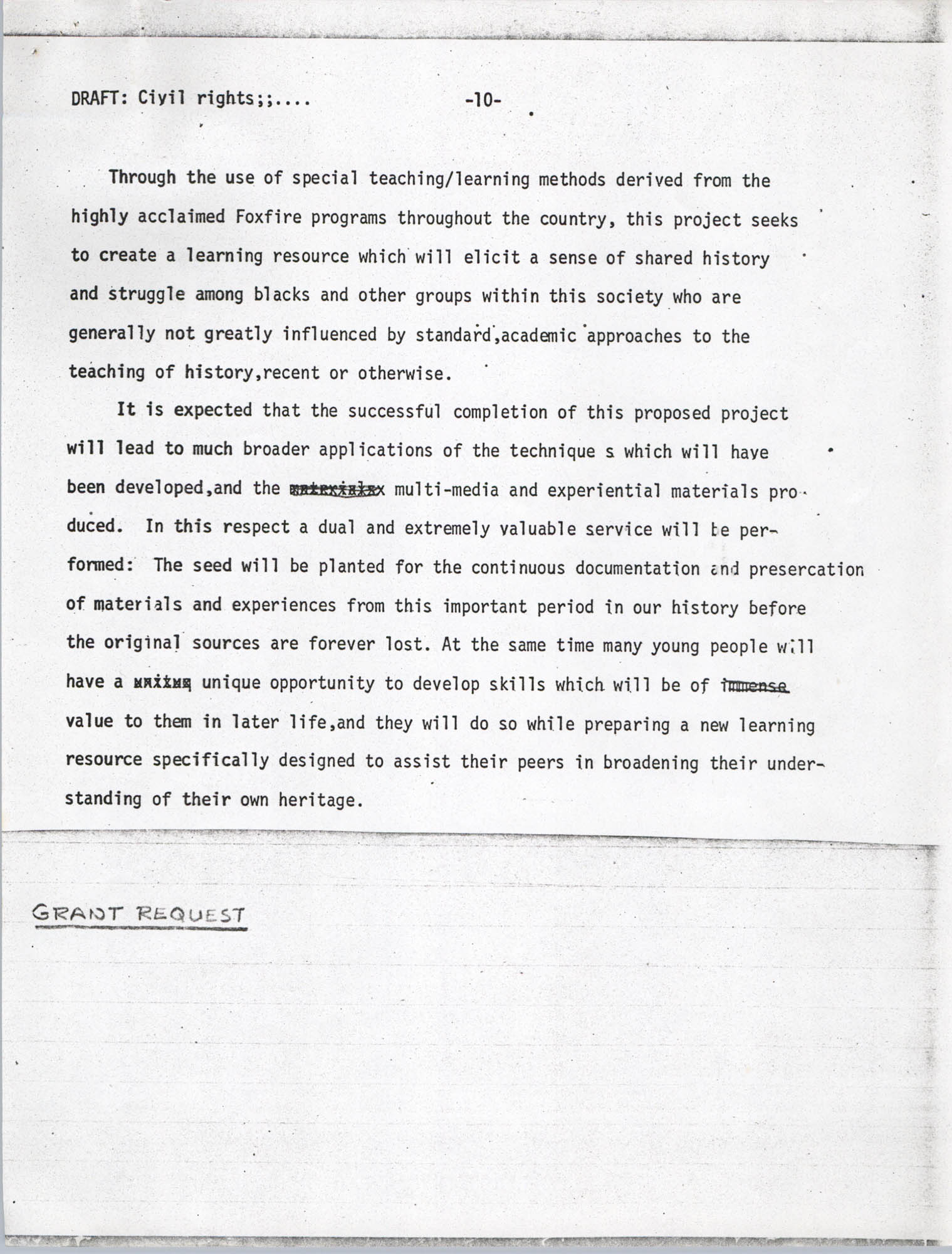 Civil Rights Learning Resource Development Project, Draft, Page 10