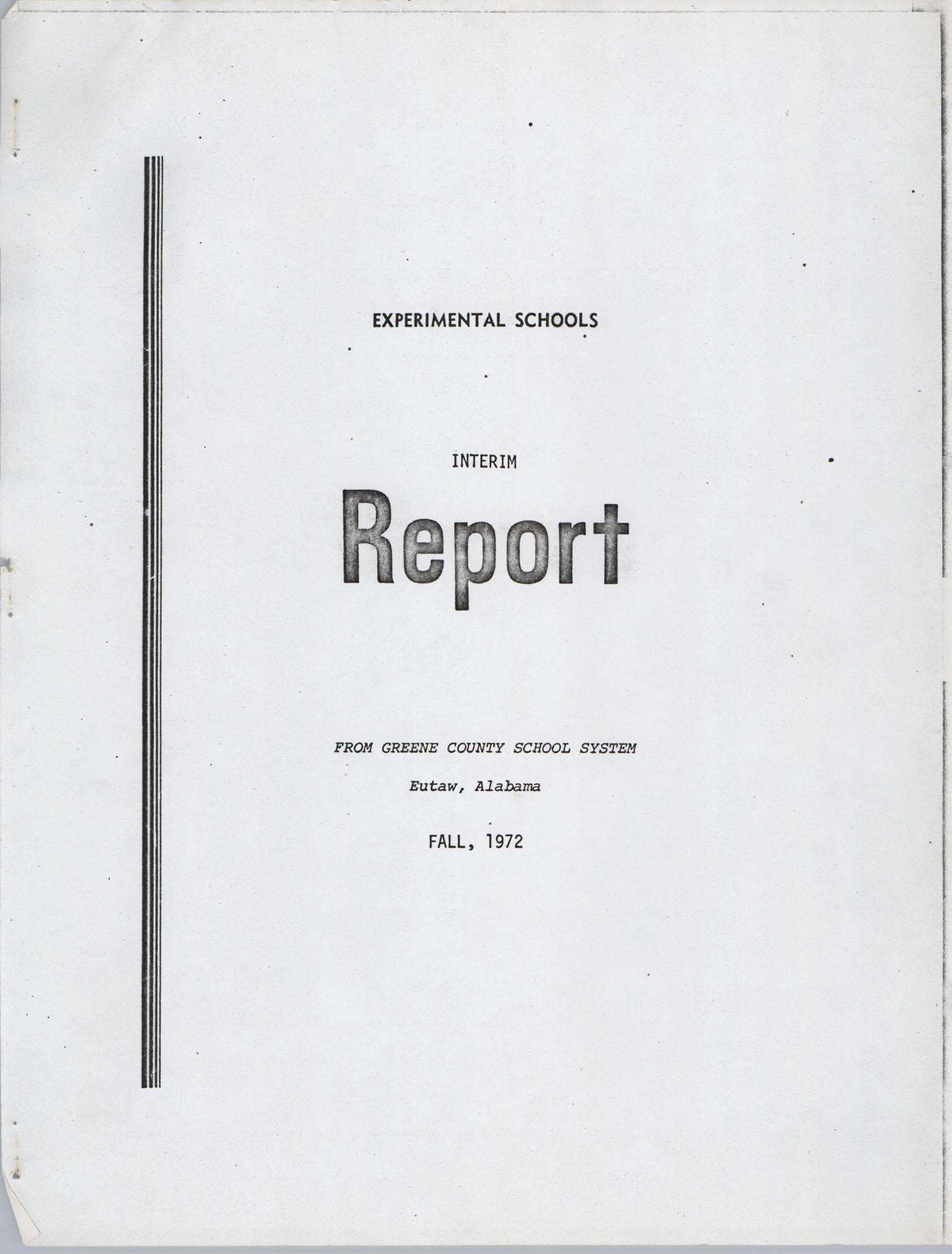 Experimental Schools Interim Report, Greene County School System, Cover Page