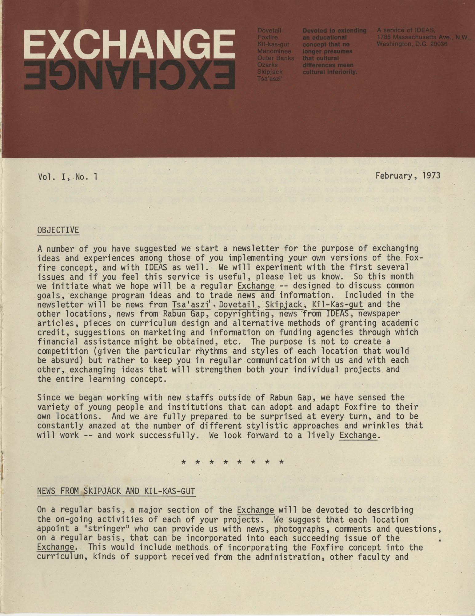 Exchange, Vol. 1, No. 1, Page 1