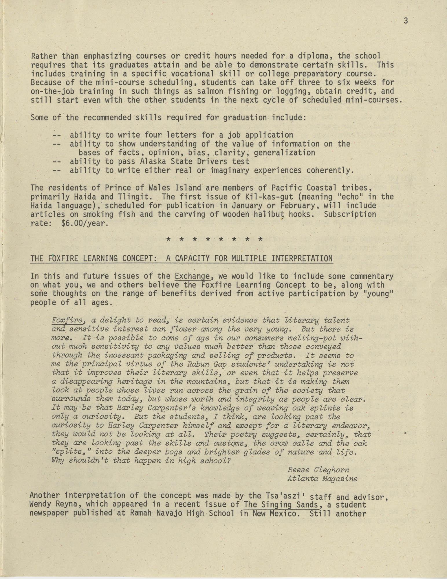 Exchange, Vol. 1, No. 1, Page 3