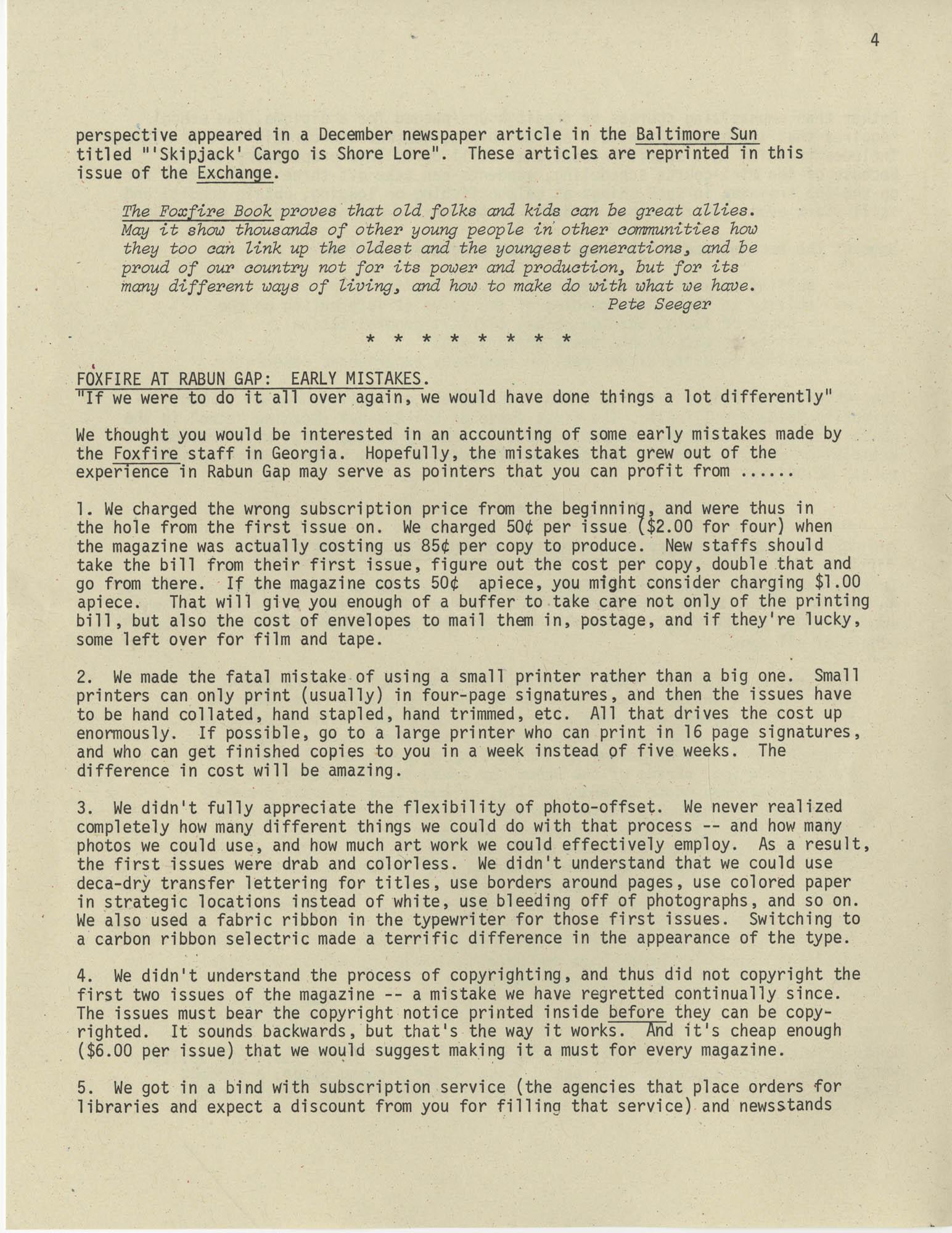 Exchange, Vol. 1, No. 1, Page 4