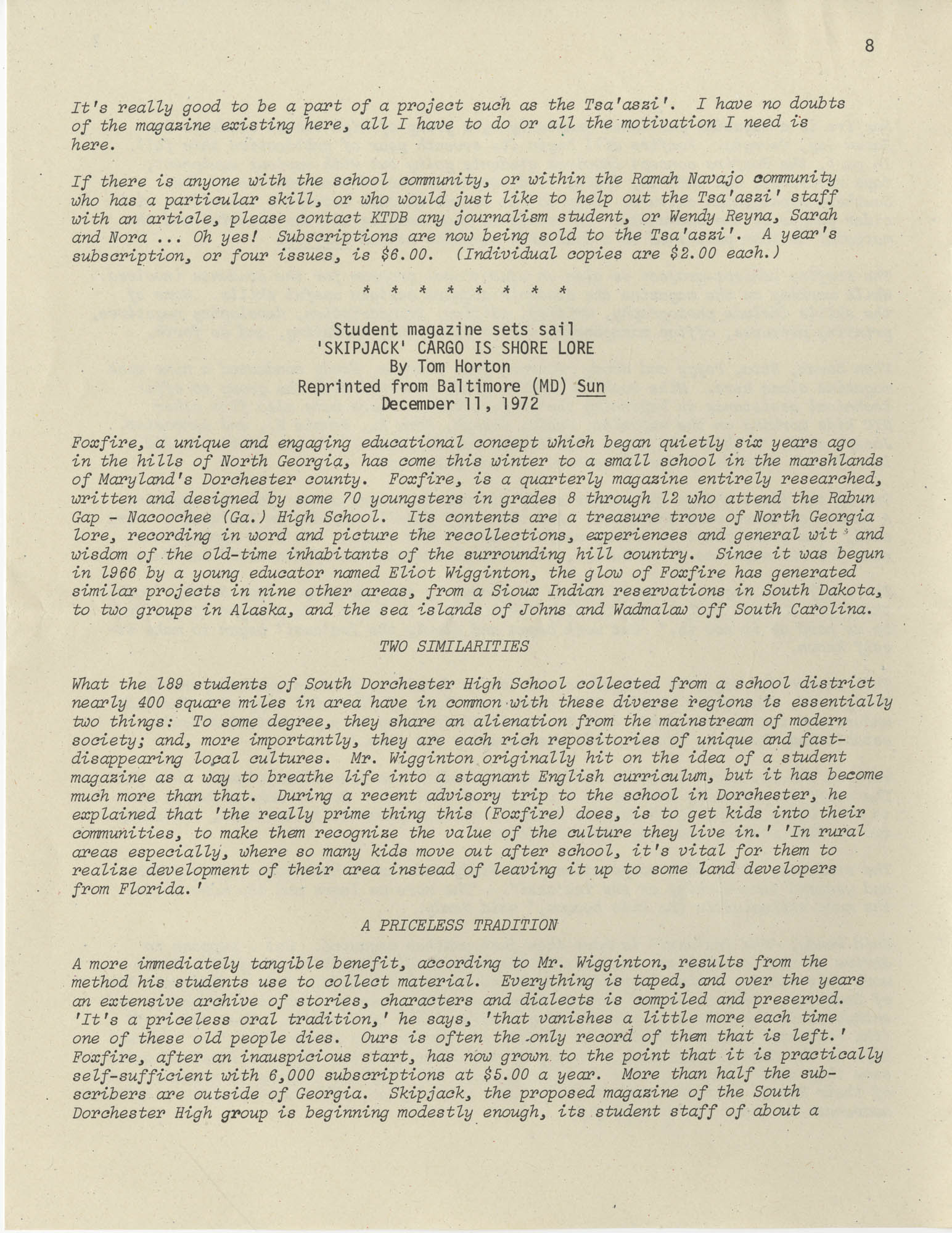 Exchange, Vol. 1, No. 1, Page 8