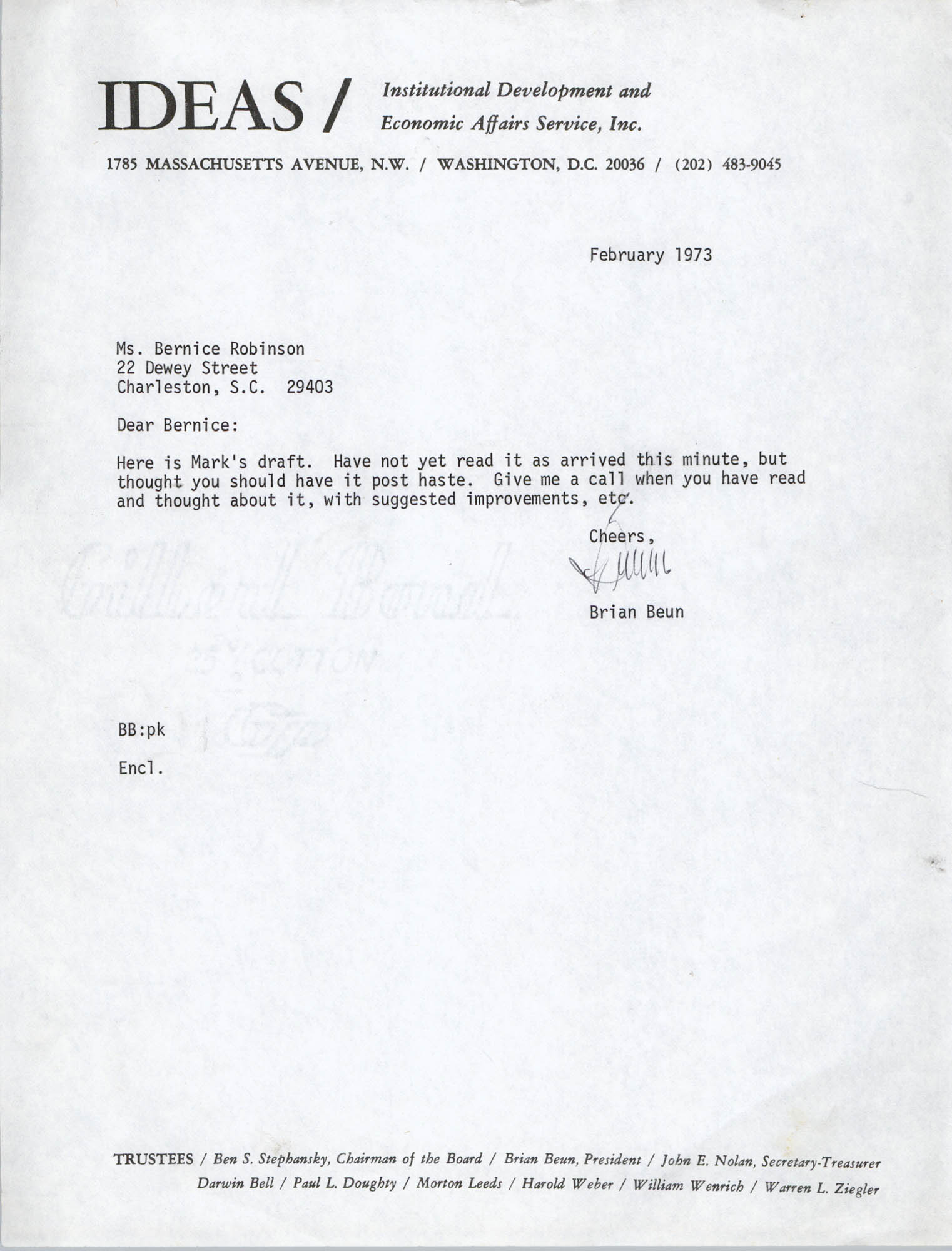 Letter from Brian Beun to Bernice Robinson, February 1973