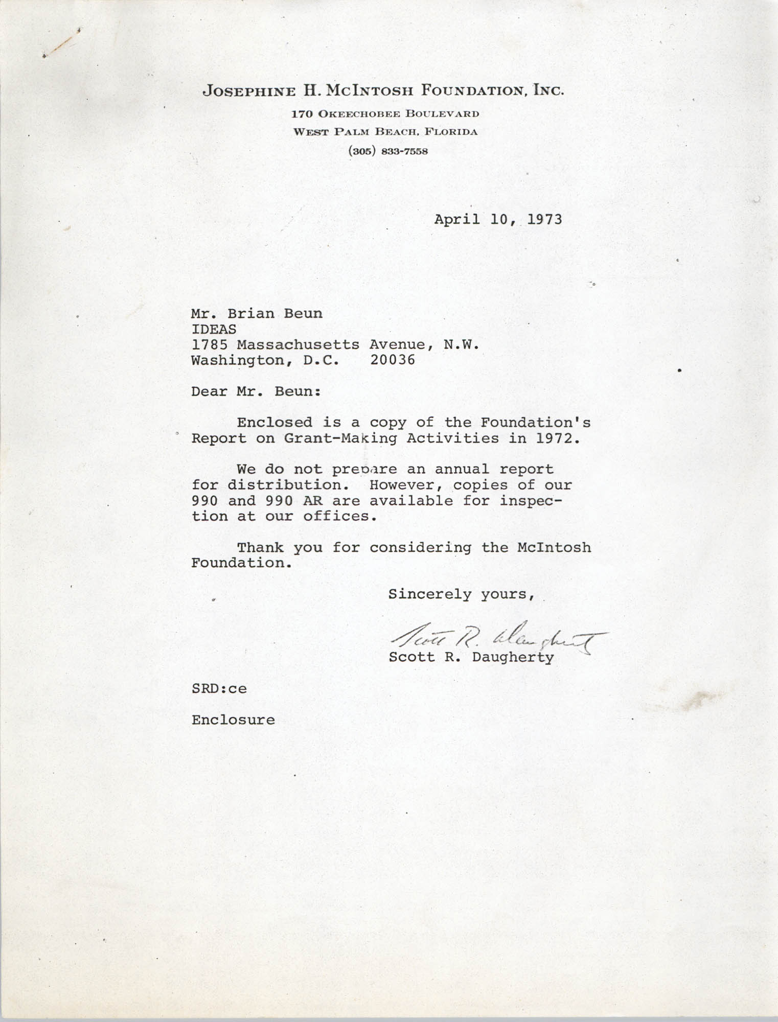 Letter from Scott Daugherty to Brian Beun, April 10, 1973