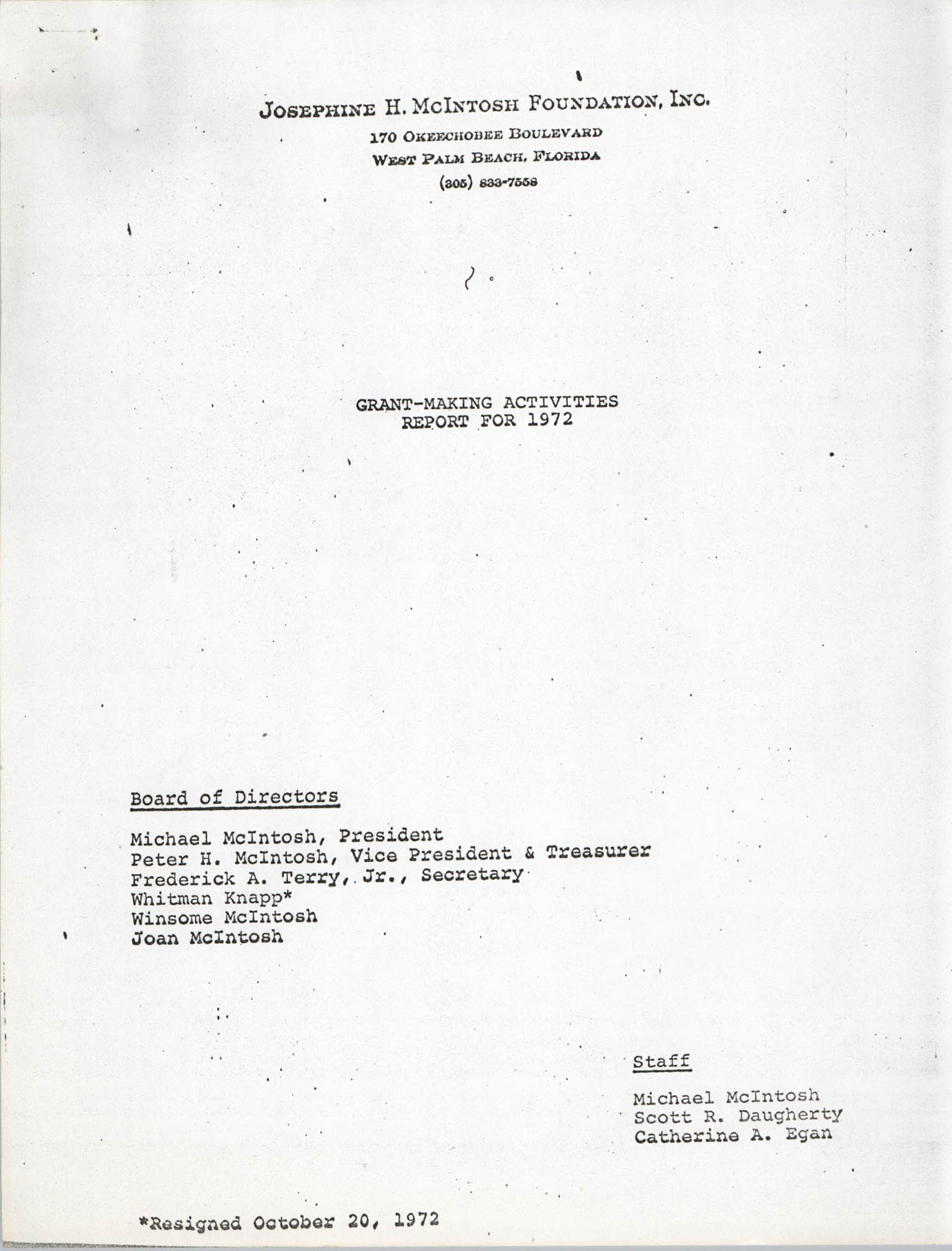 Josephine H. McIntosh Foundation Grant-Making Activities Report for 1972, Cover Page