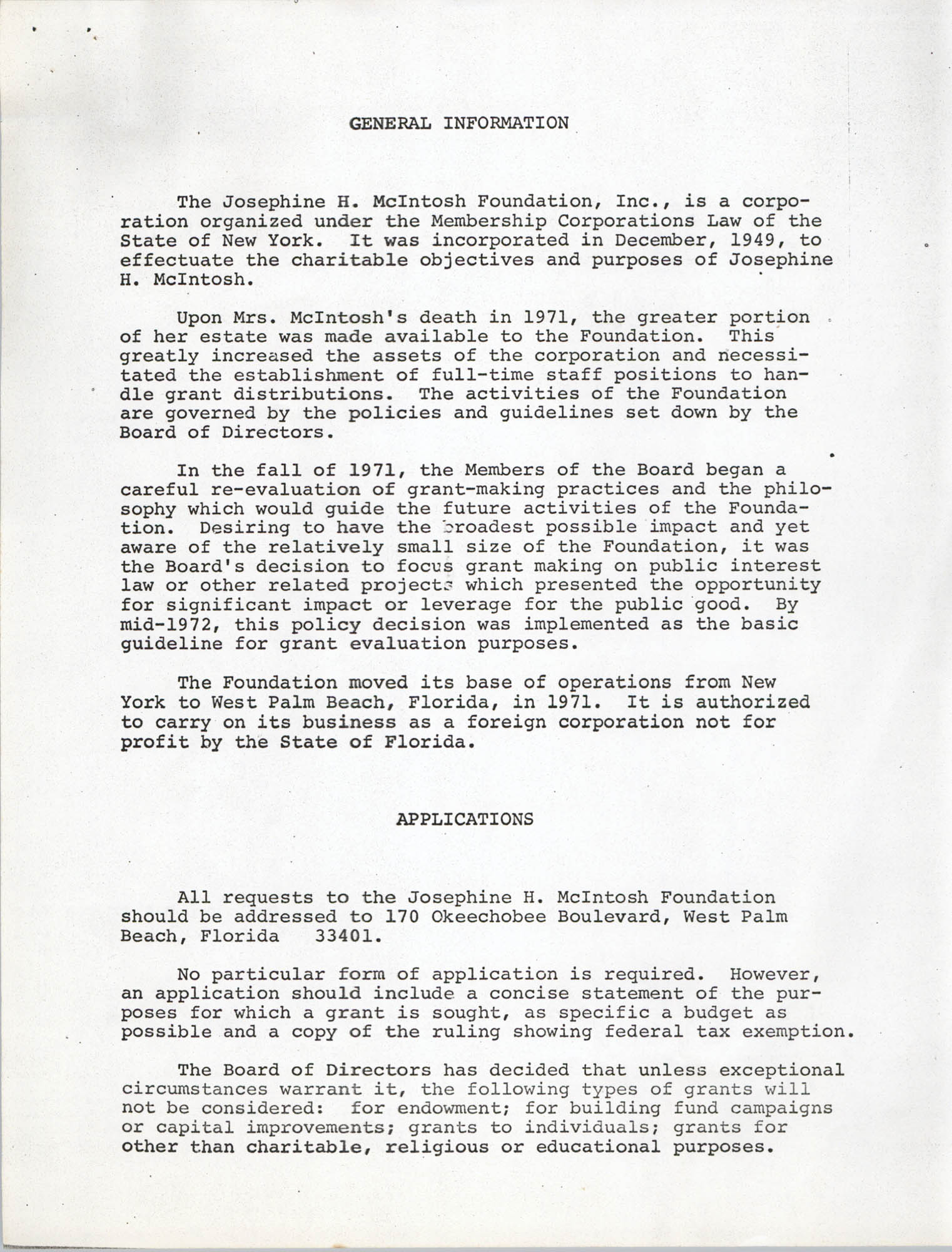 Josephine H. McIntosh Foundation Grant-Making Activities Report for 1972, General Information