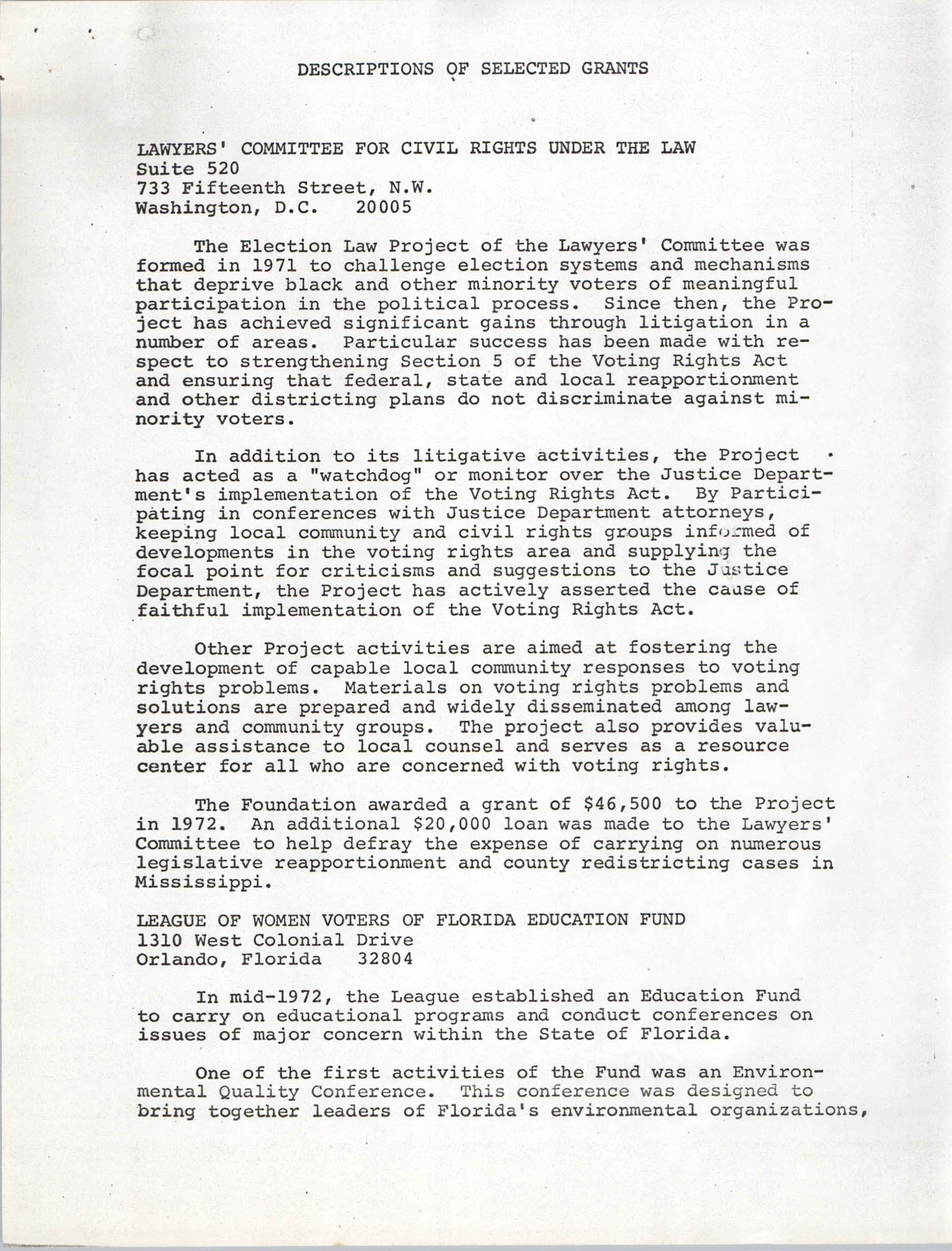 Josephine H. McIntosh Foundation Grant-Making Activities Report for 1972, Selected Grants Page 1