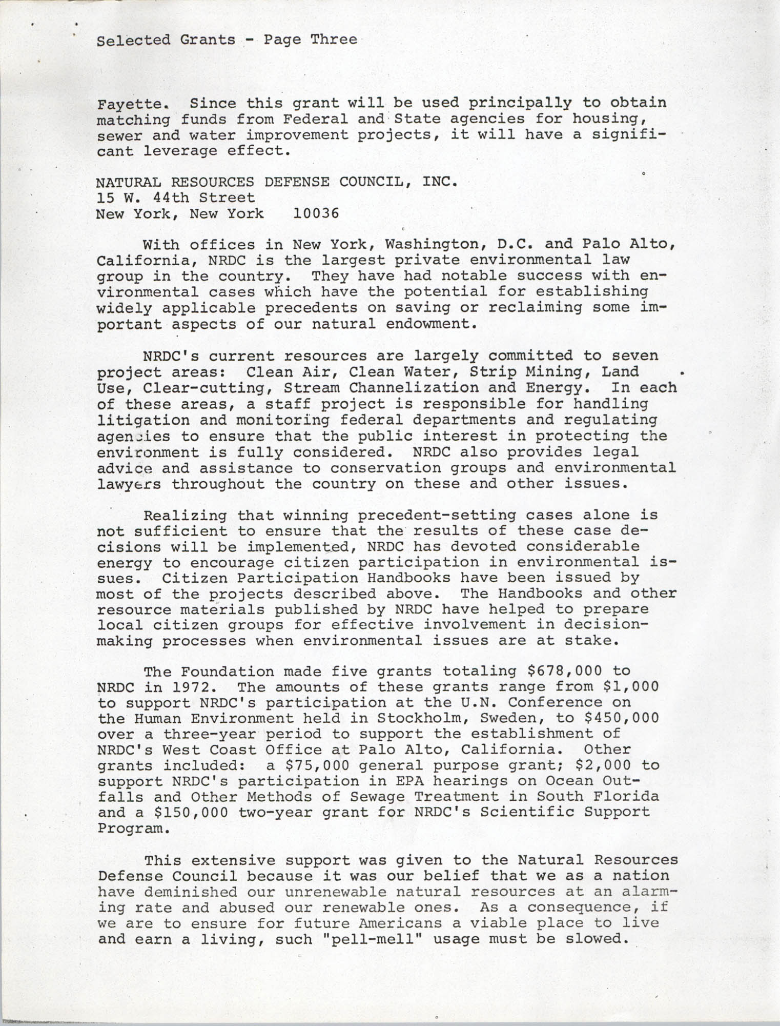 Josephine H. McIntosh Foundation Grant-Making Activities Report for 1972, Selected Grants Page 3