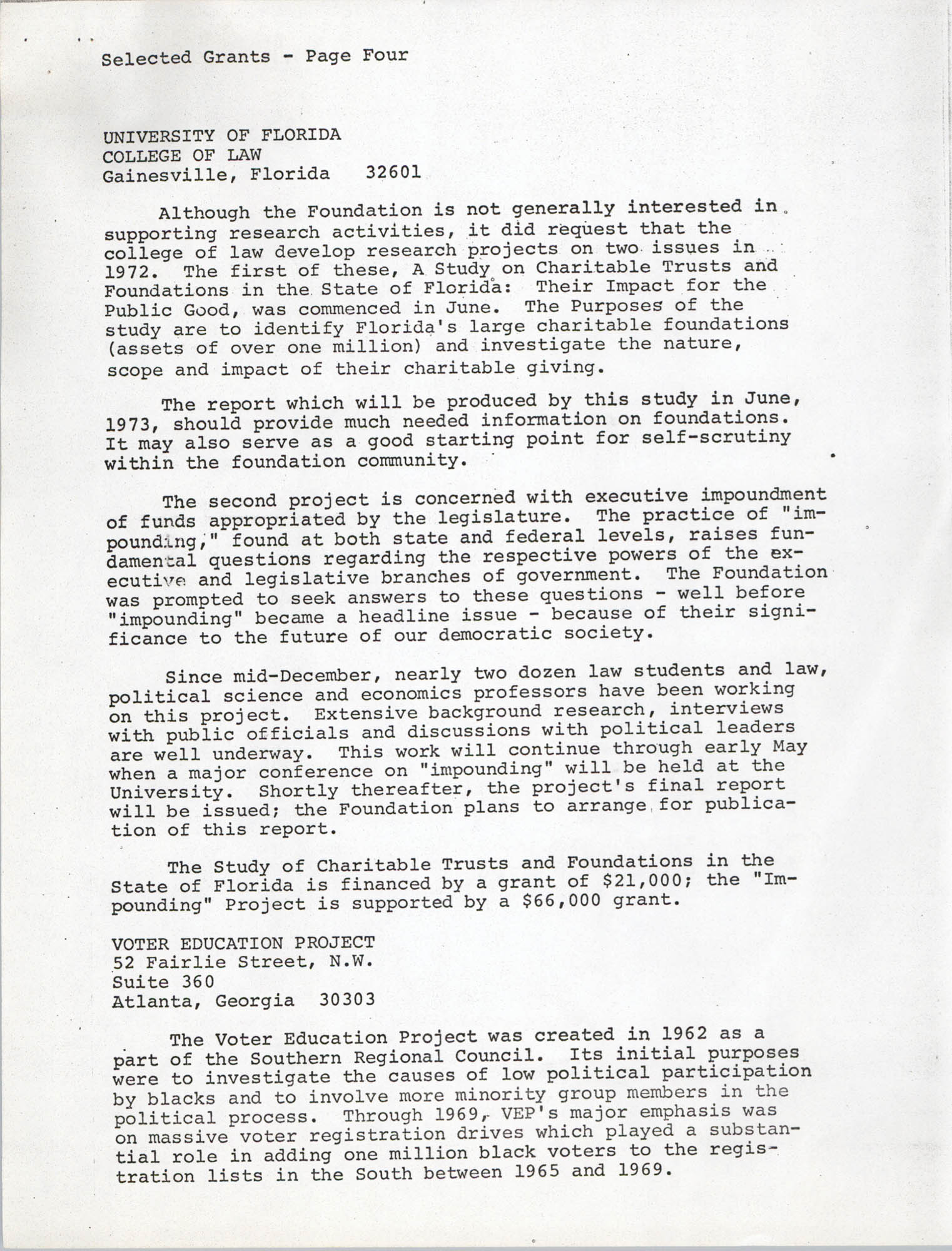 Josephine H. McIntosh Foundation Grant-Making Activities Report for 1972, Selected Grants Page 4