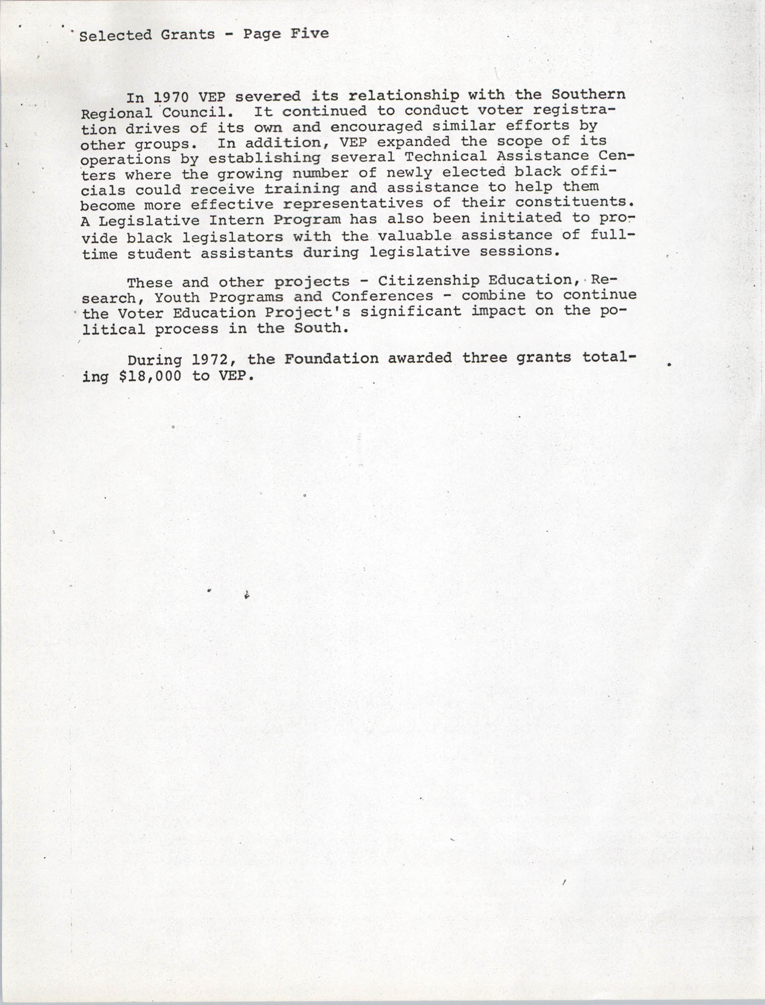 Josephine H. McIntosh Foundation Grant-Making Activities Report for 1972, Selected Grants Page 5
