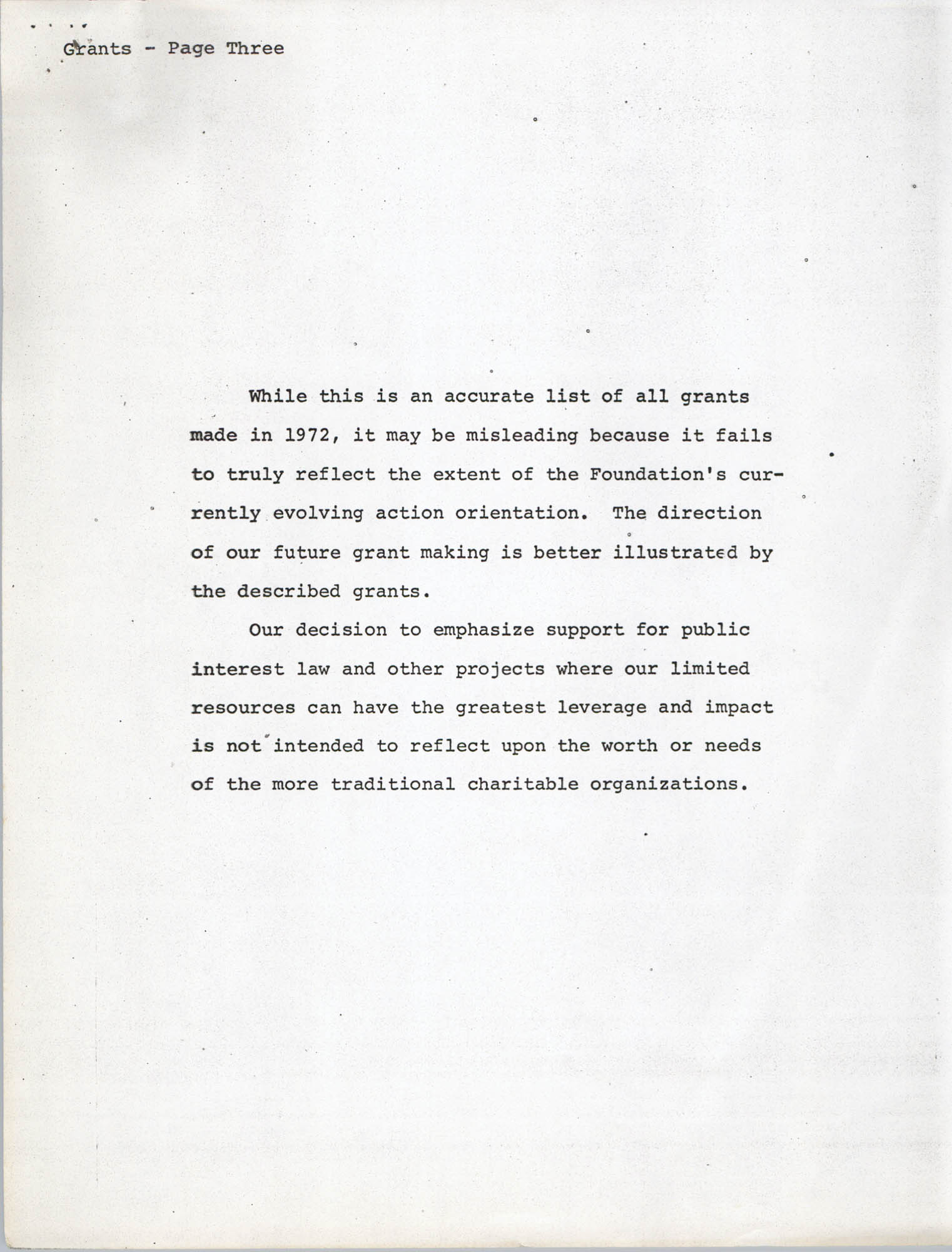 Josephine H. McIntosh Foundation Grant-Making Activities Report for 1972, Grants Page 3