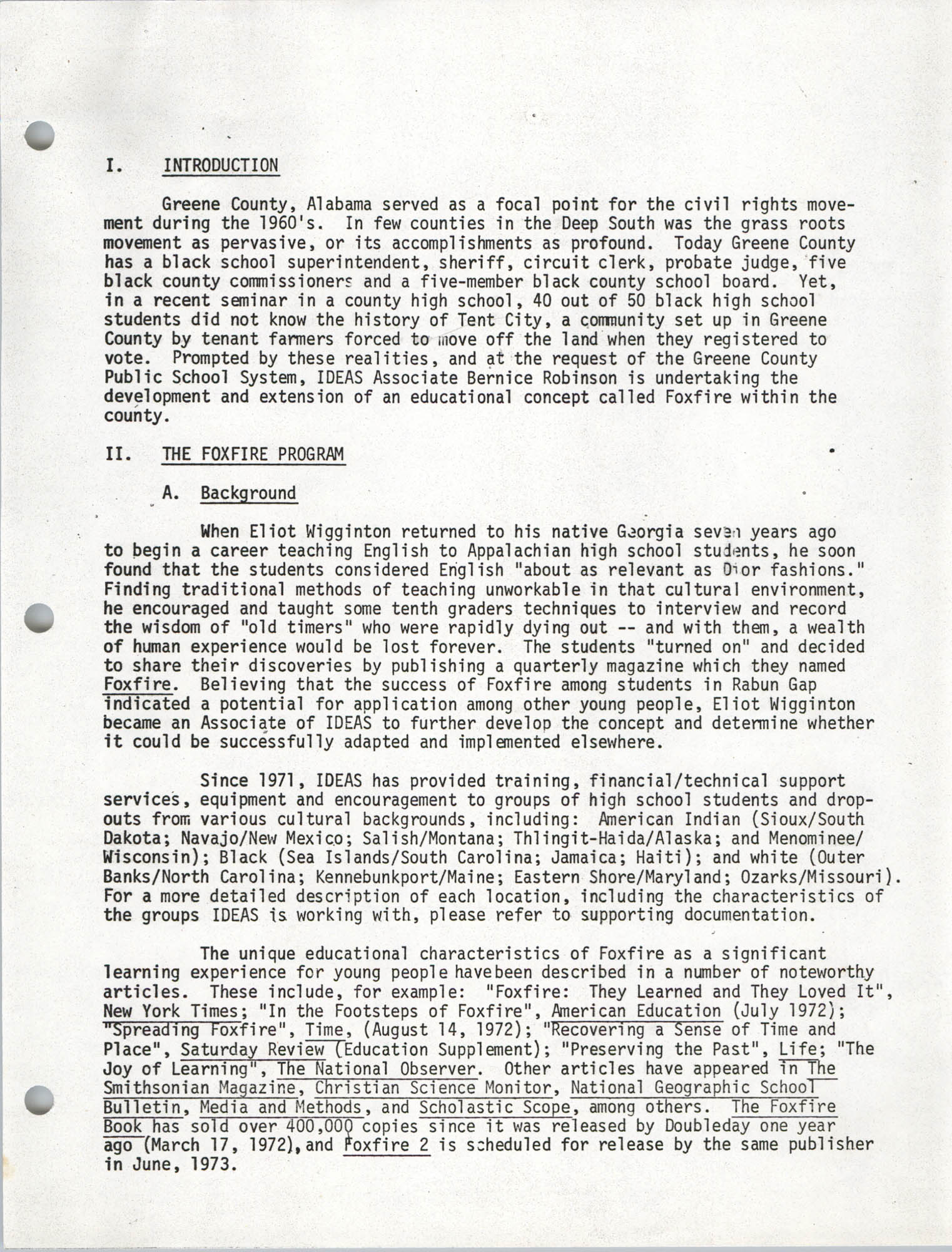Civil Rights Movement Oral History Project, Page 1