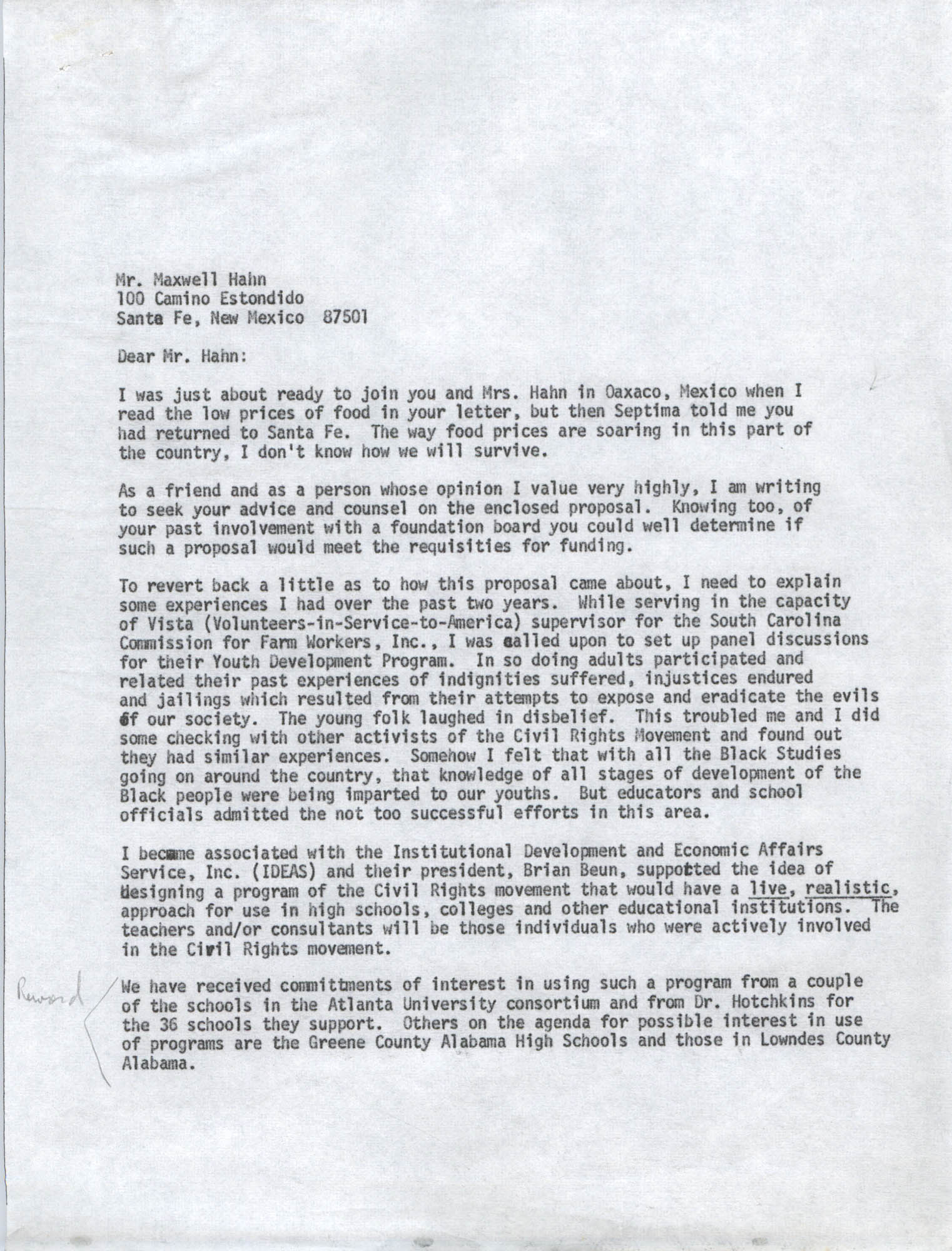 Letter from Bernice Robinson to Maxwell Hahn, May 4, 1973, Draft Page 1