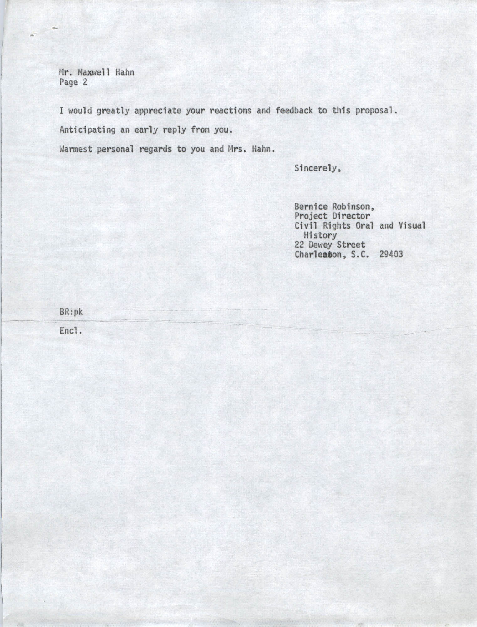 Letter from Bernice Robinson to Maxwell Hahn, May 4, 1973, Draft Page 2