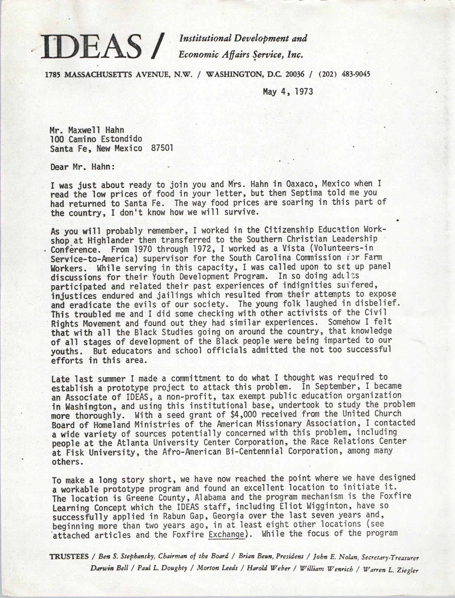 Letter from Bernice Robinson to Maxwell Hahn, May 4, 1973, Page 1