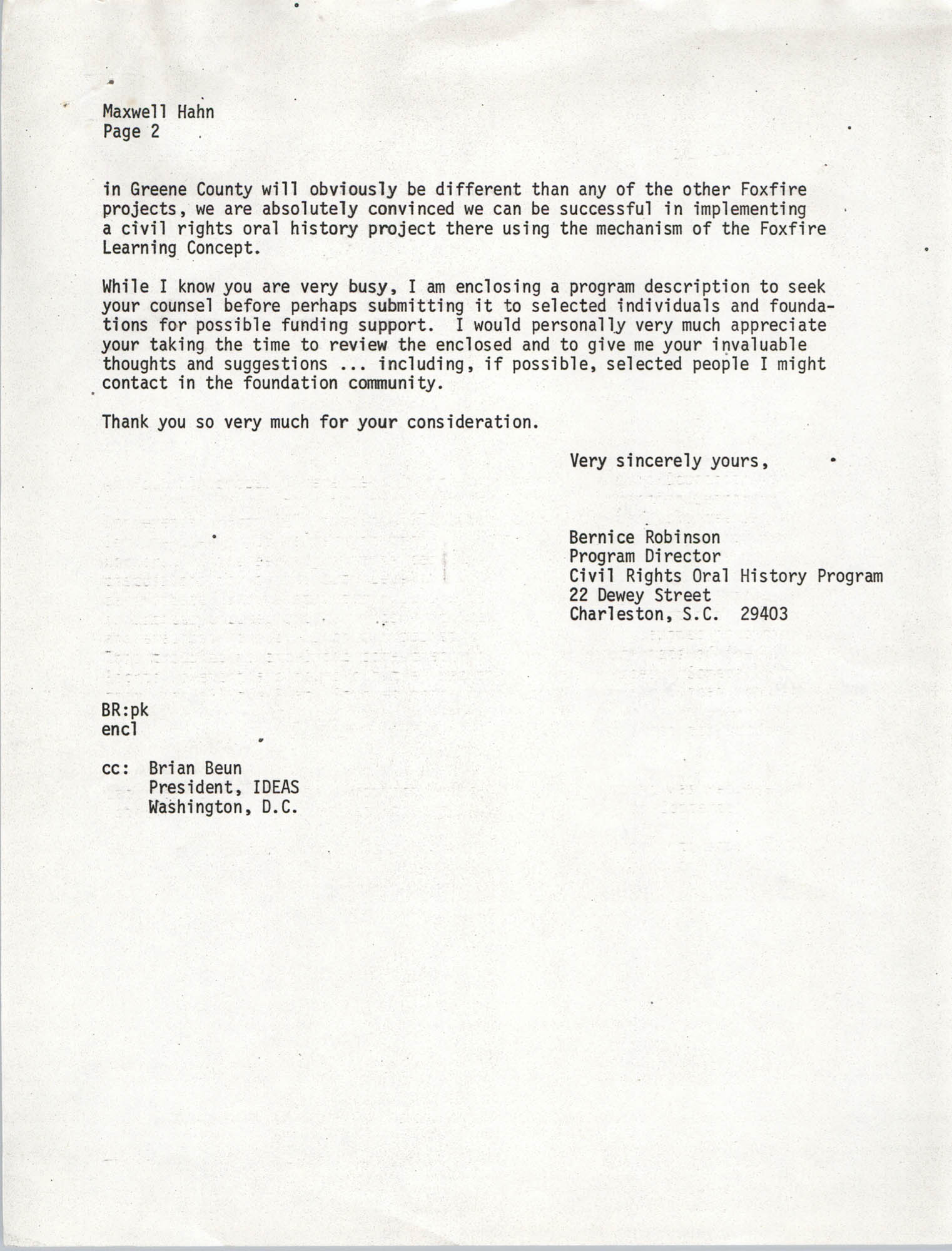 Letter from Bernice Robinson to Maxwell Hahn, May 4, 1973, Page 2