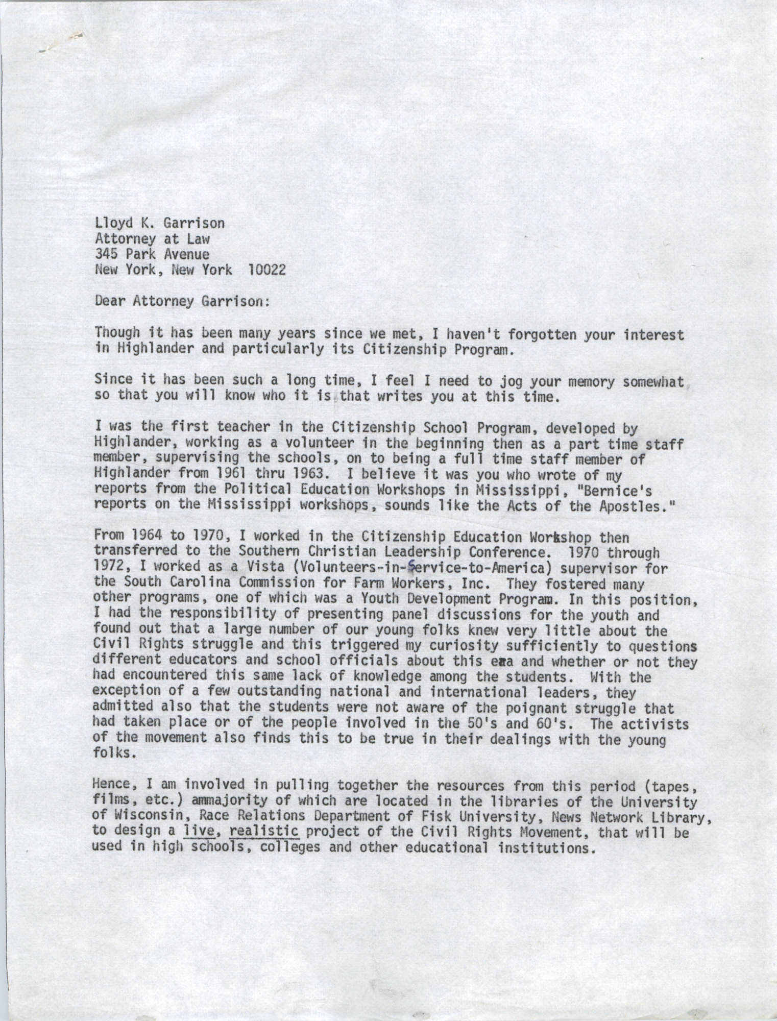 Letter from Bernice Robinson to Lloyd K. Garrison, May 4, 1973, Draft Page 1